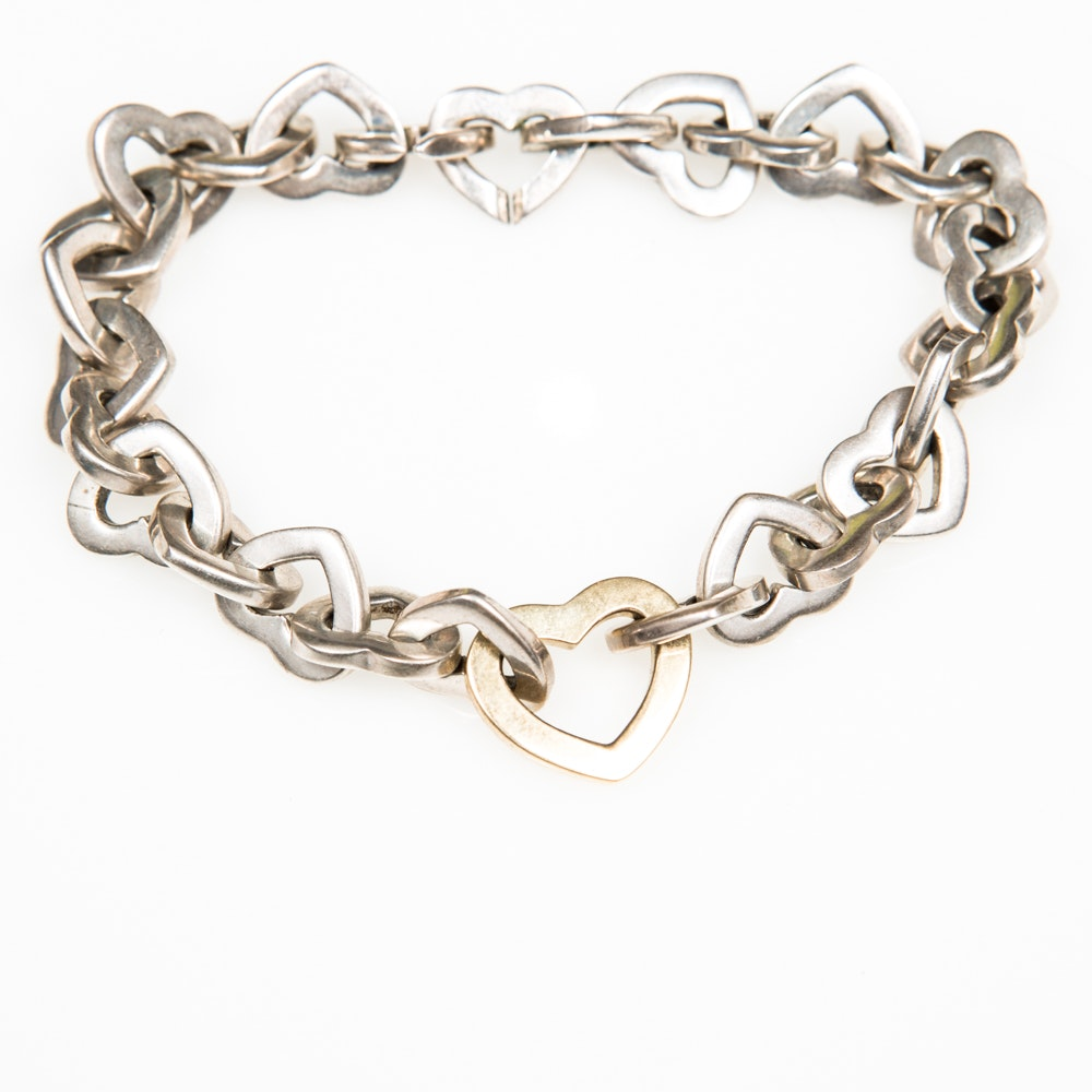 Tiffany & Co. Sterling Silver and 18K Yellow Gold Heart Chain Bracelet