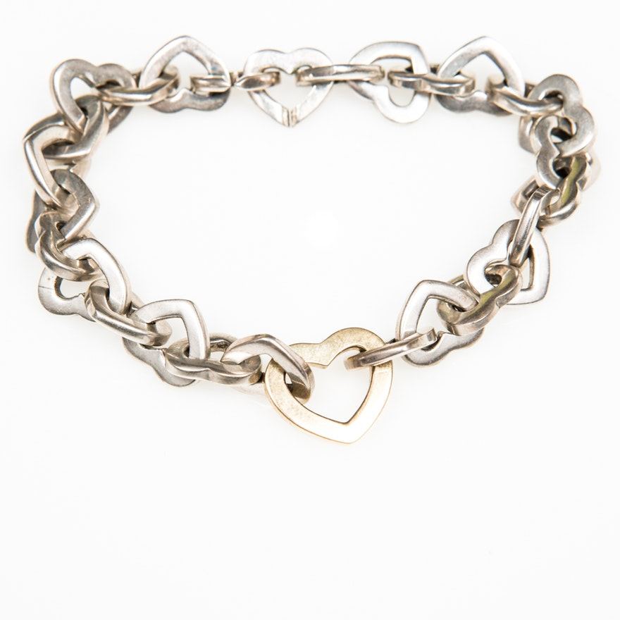 dc056f8f2 Tiffany & Co. Sterling Silver and 18K Yellow Gold Heart Chain Bracelet :  EBTH