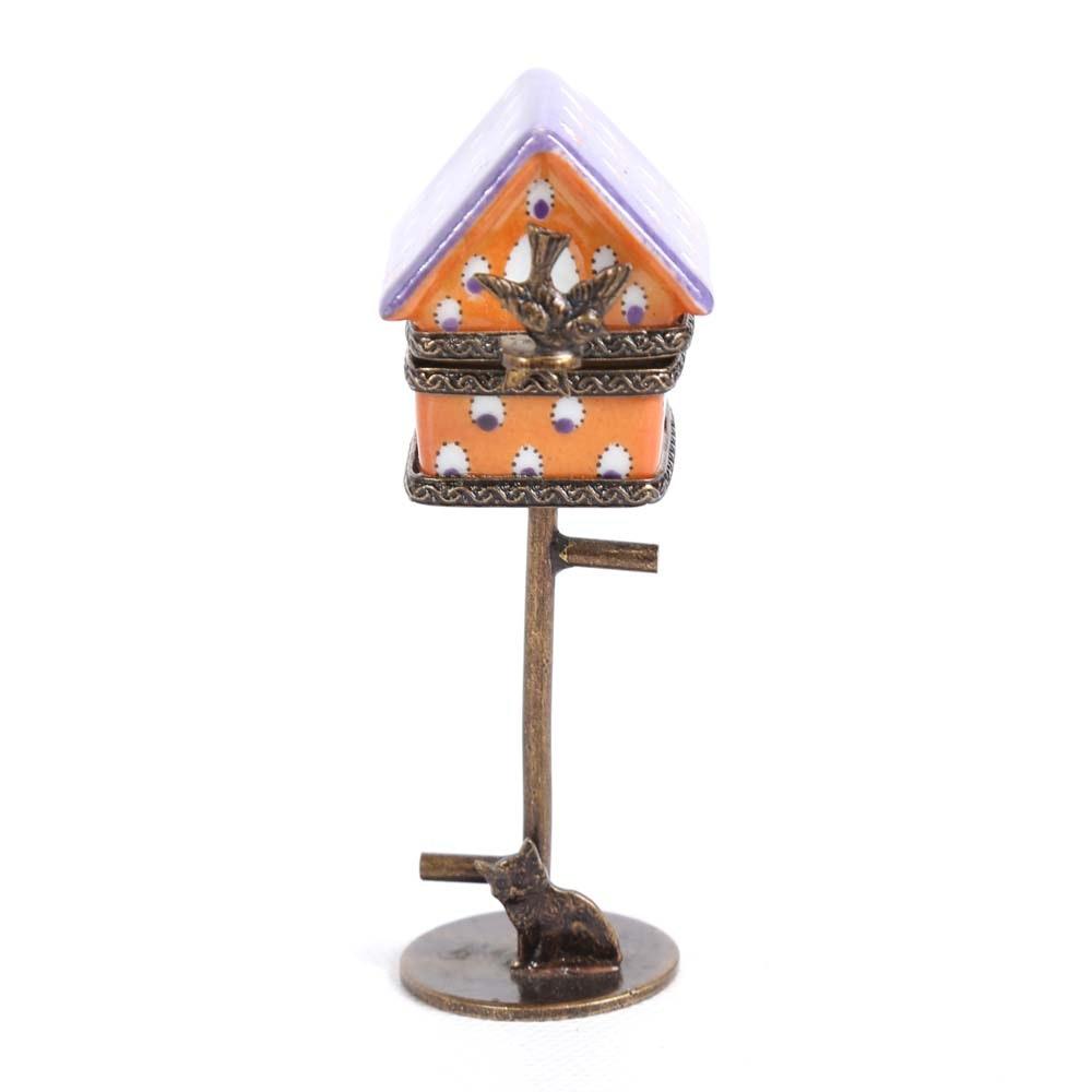Limoges Porcelain Birdhouse Pill Box
