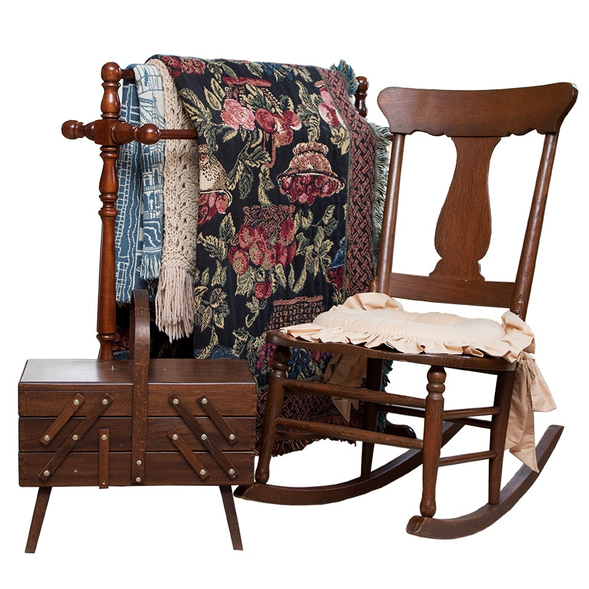 Quilt Rack, Vintage Rocking Chair, Sewing Box and Textiles