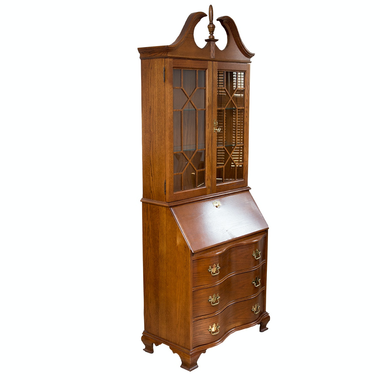 Chippendale Style Illuminated Secretary Bookcase by Jasper Cabinet