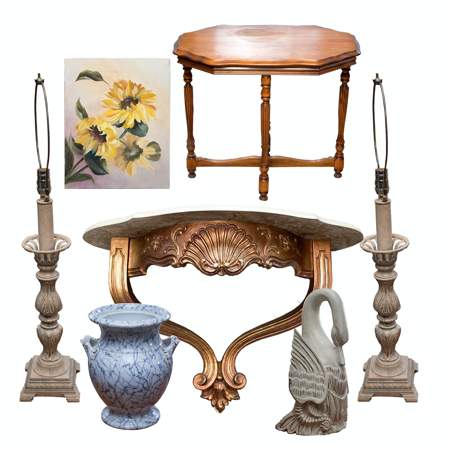 Vintage Table, Marble Wall Shelf and a Collection of Home Decor
