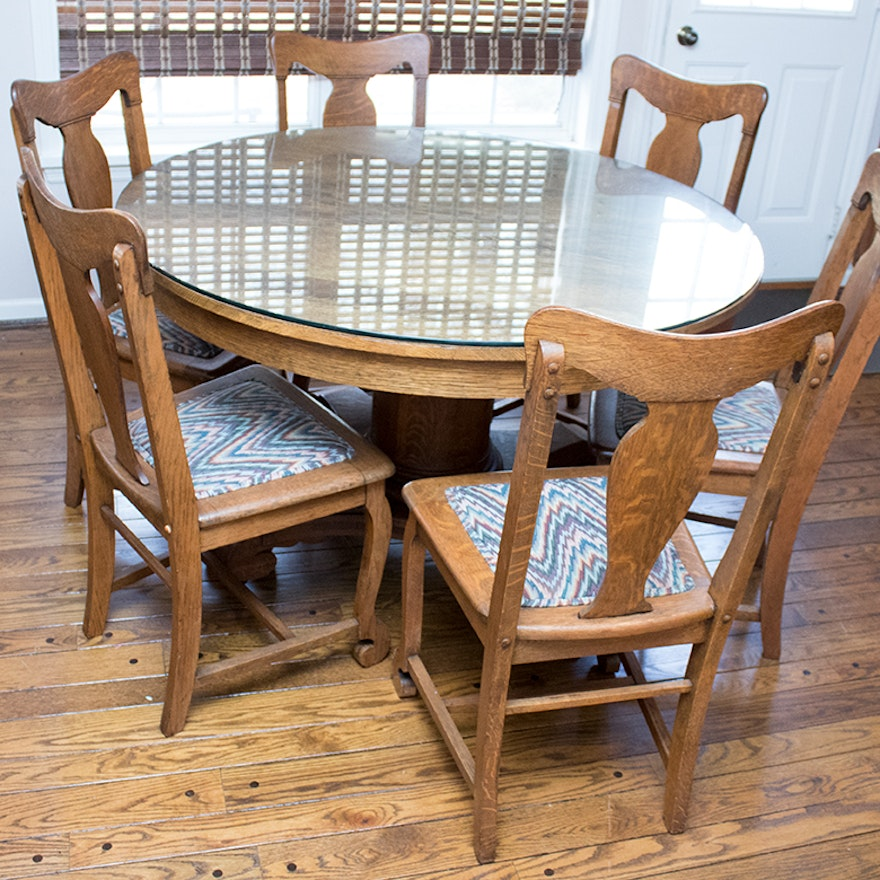 Vintage Oak Pedestal Dining Table And Chairs