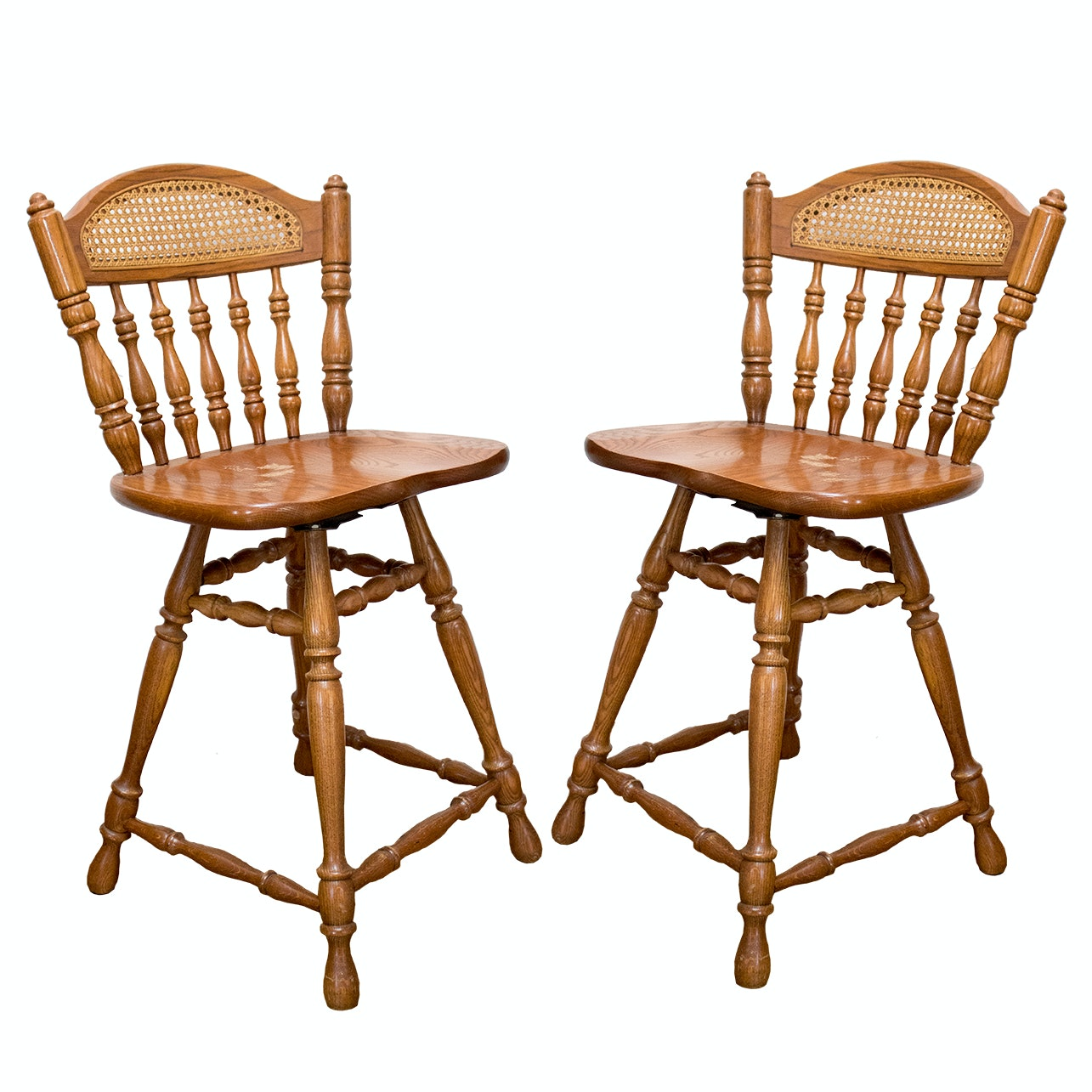 Wood and Cane Swivel Bar Stools by Tell City Chair Company