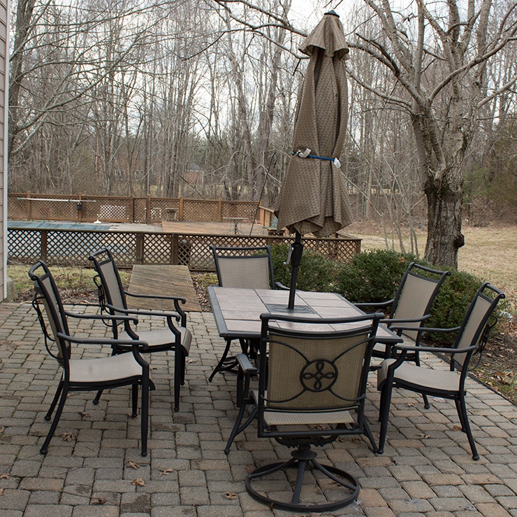 Metal Patio Dining Table and Chairs with Weather Proof Umbrella