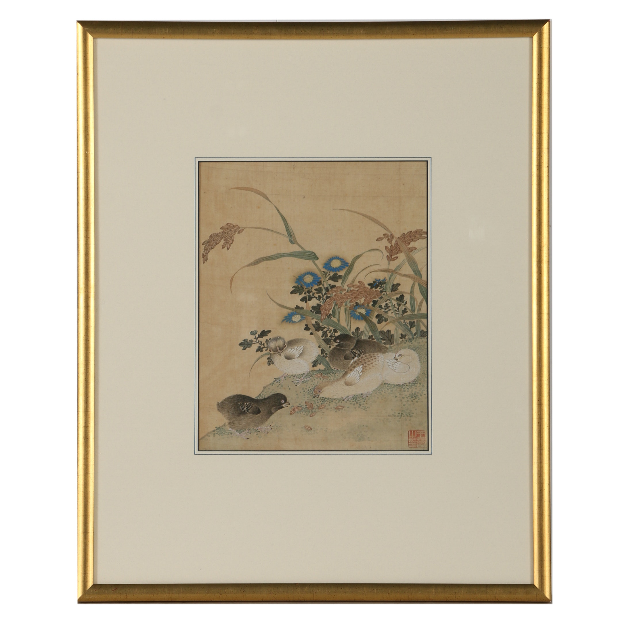Antique Chinese Gouache Painting on Silk