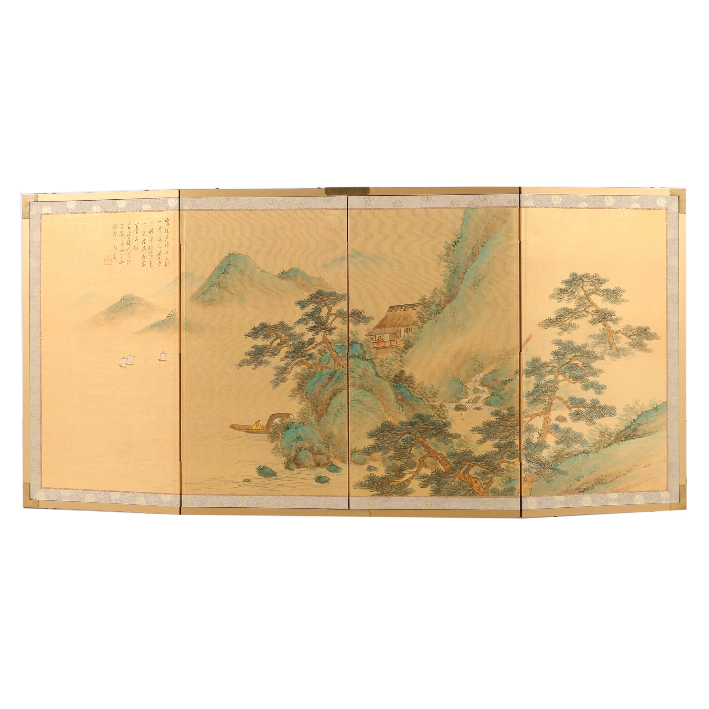 Chinese Watercolor on Silk Wall Screen