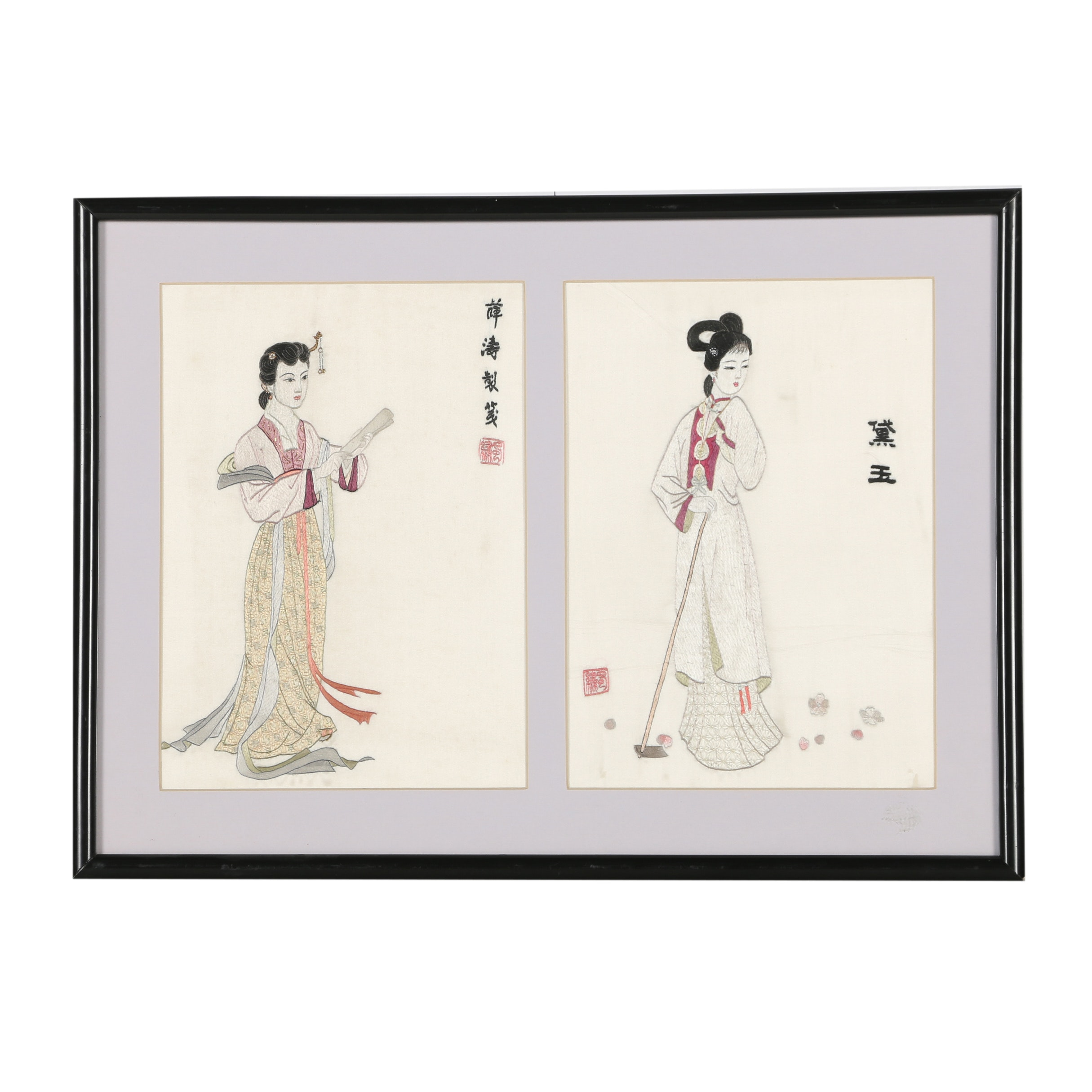 Chinese Embroidered Textile Figurative Scenes
