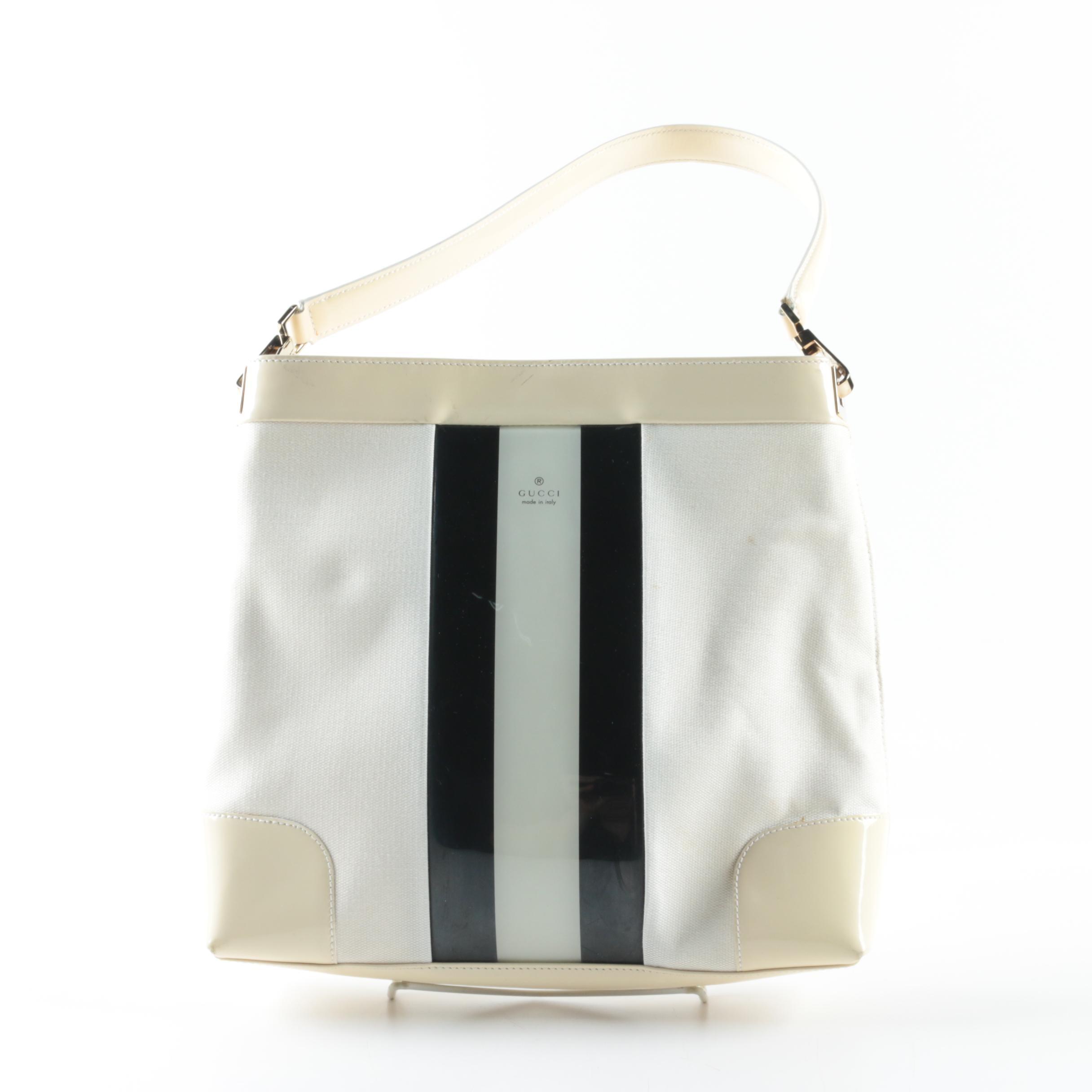 Gucci Signature Stripe Canvas and Patent Leather Shoulder Bag