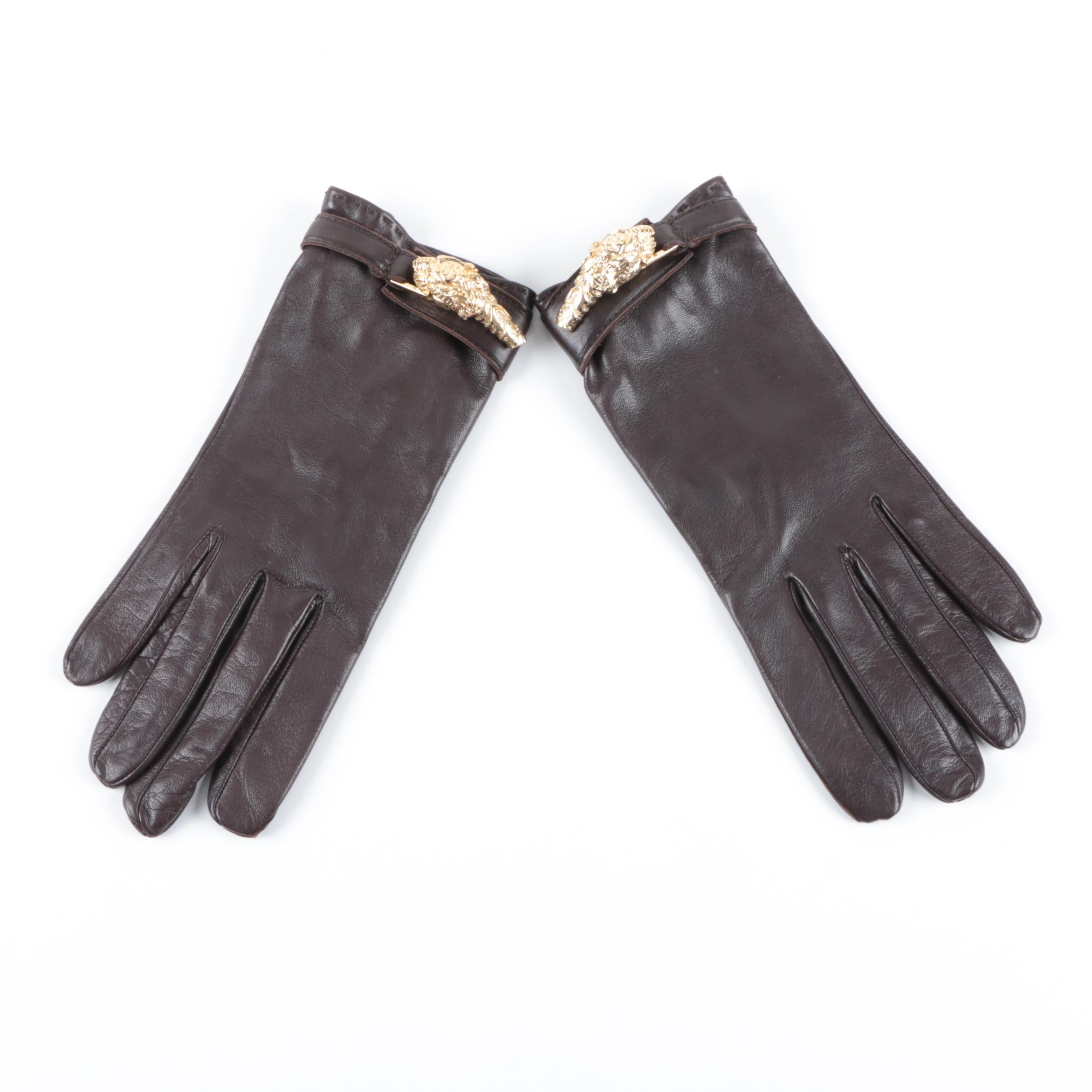 Vintage Gucci Tiger Head Leather Gloves