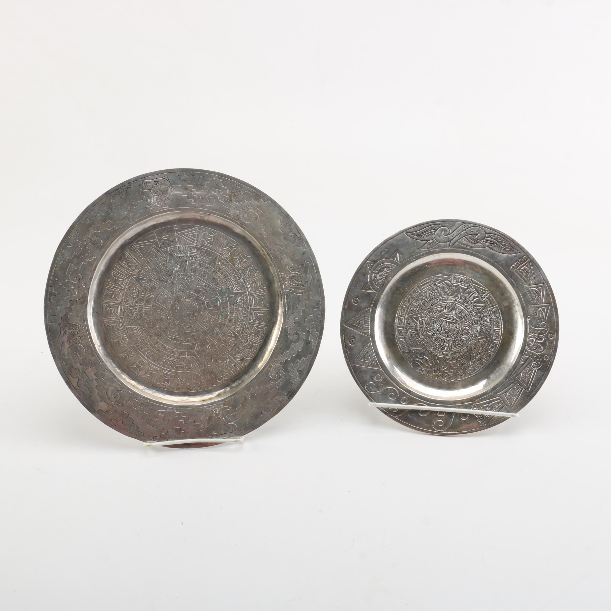 Mesoamerican Style Engraved Metal Plates