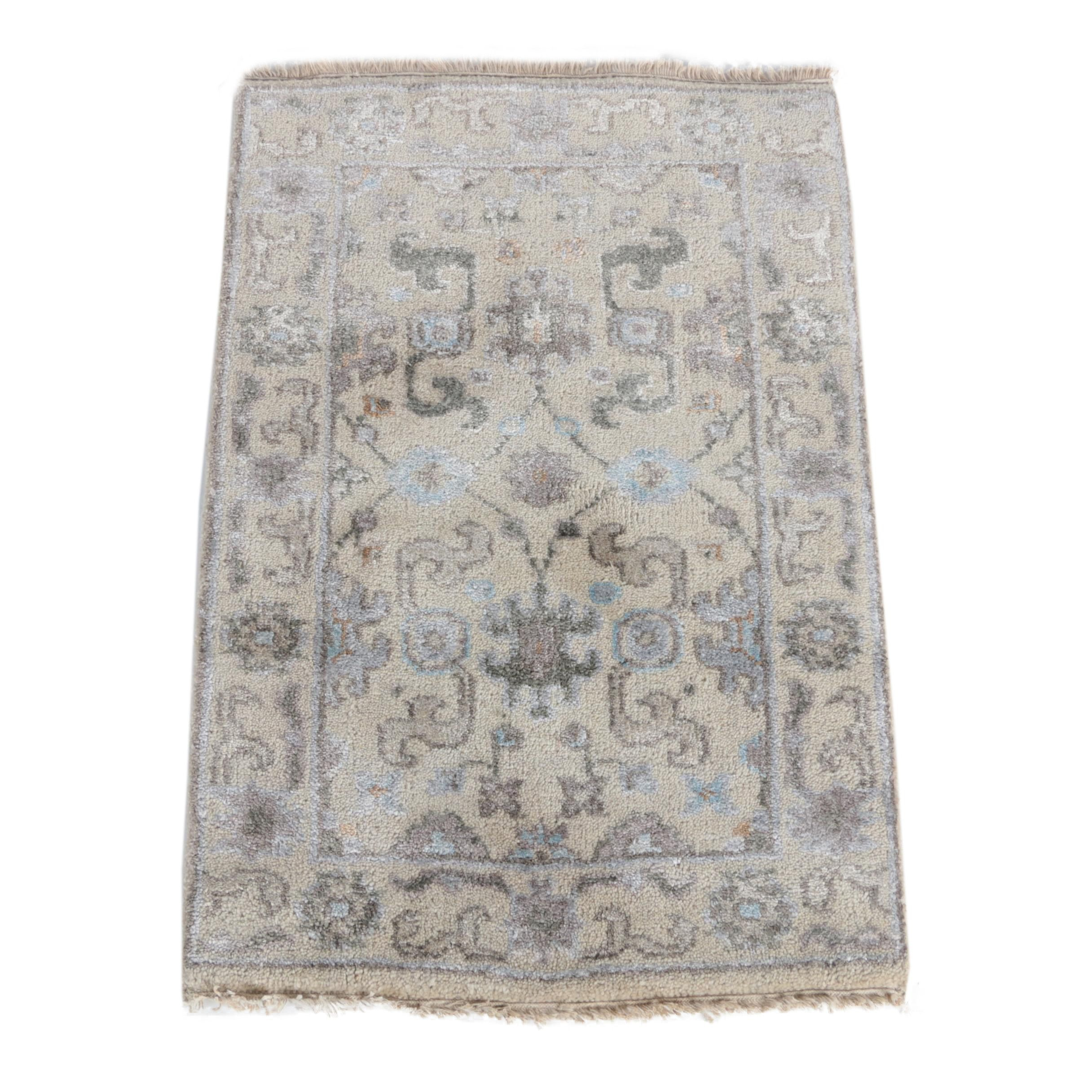Hand-Knotted Turkish Oushak Chobi Wool Accent Rug