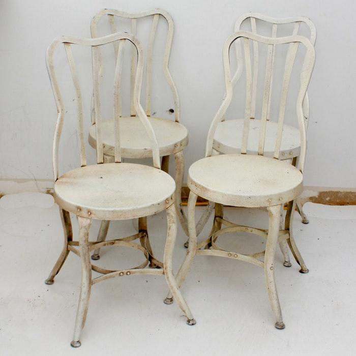 White Painted Metal Bistro Chairs
