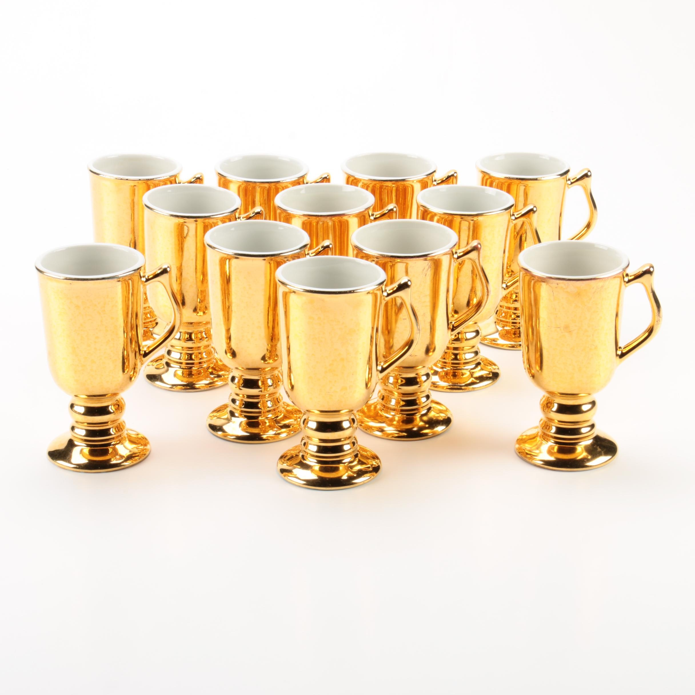 "Vintage Hall Pottery ""Golden Glo"" Irish Coffee Mugs"