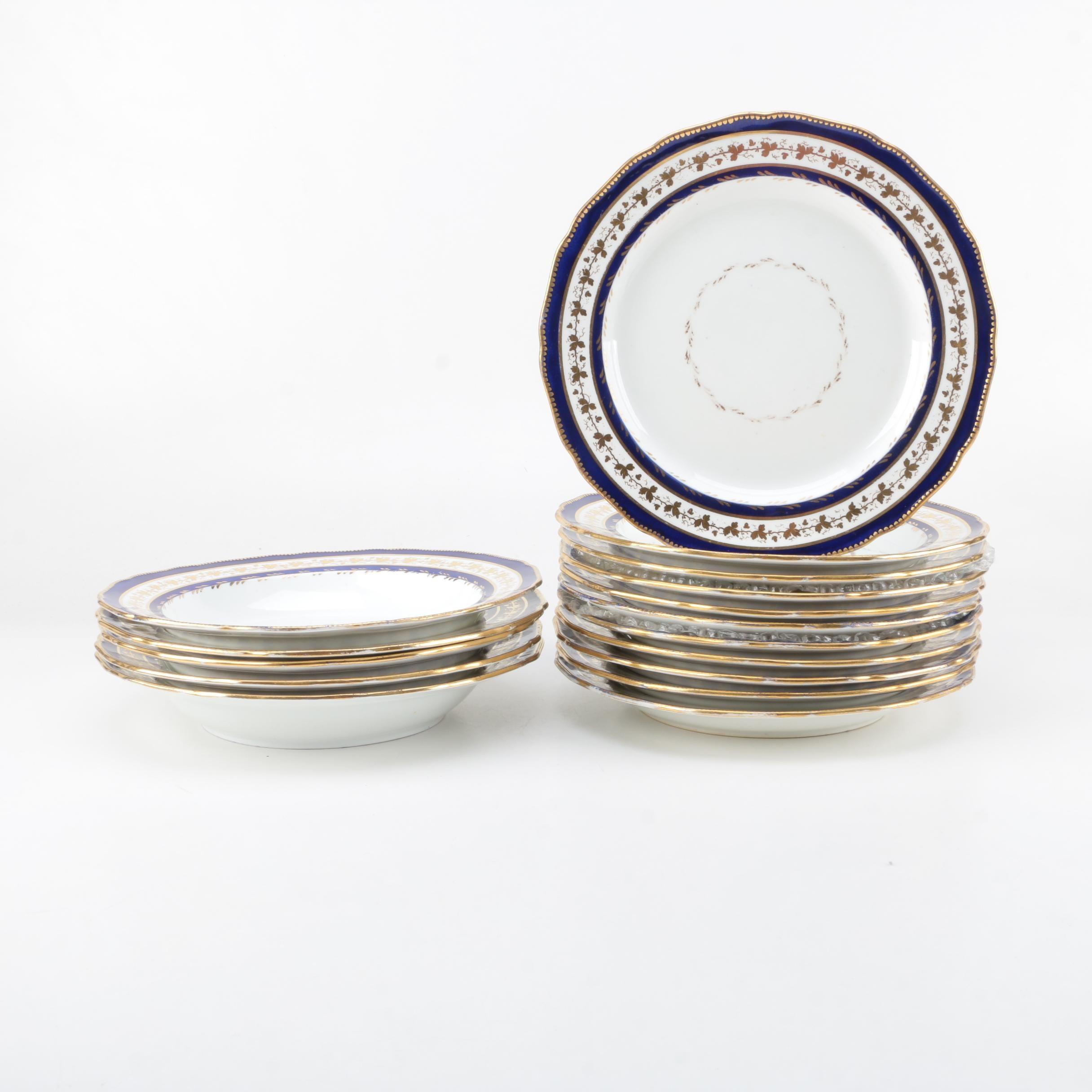 Antique Davenport Longport Staffordshire Dinner Plates and Bowls Circa 1820