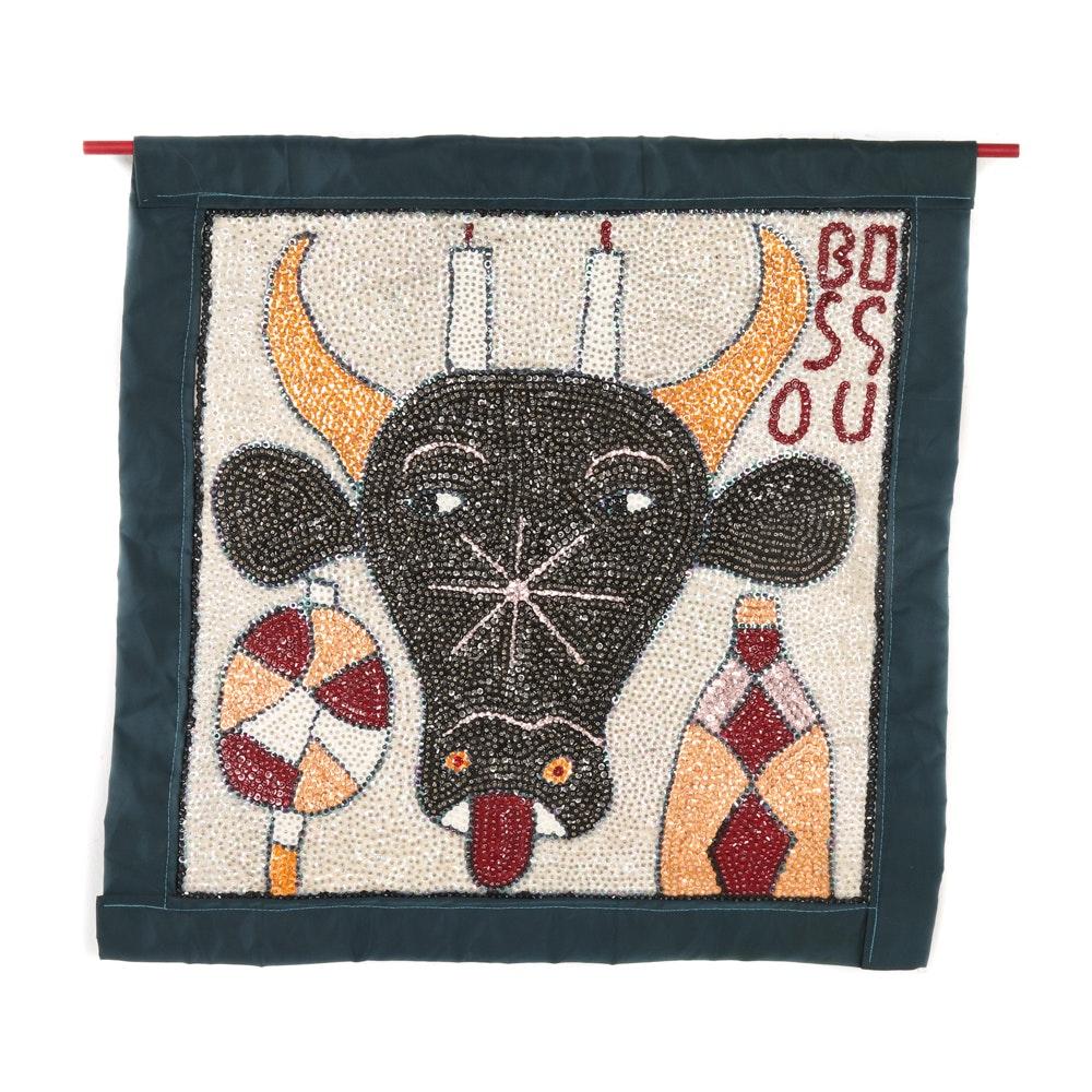 "Haitian Drapo Vodou Flag ""Bossou"""