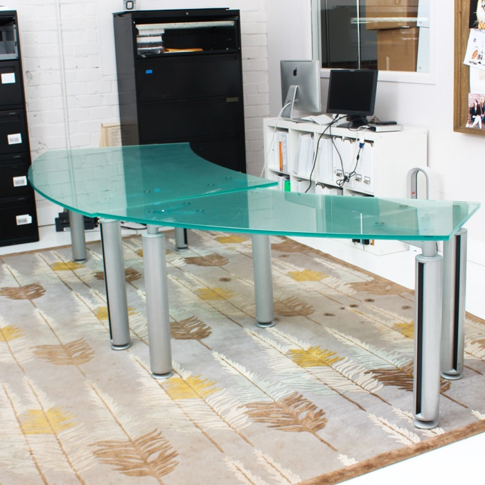 Modern Style Glass Top Curved Desk