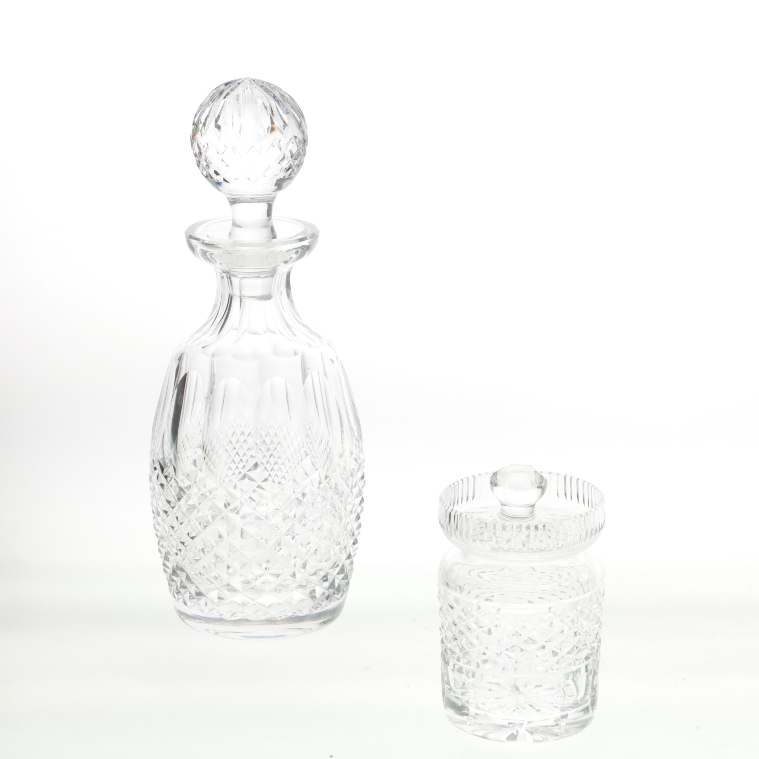 "Waterford Crystal ""Colleen"" Decanter and Waterford Crystal Honey Jar"