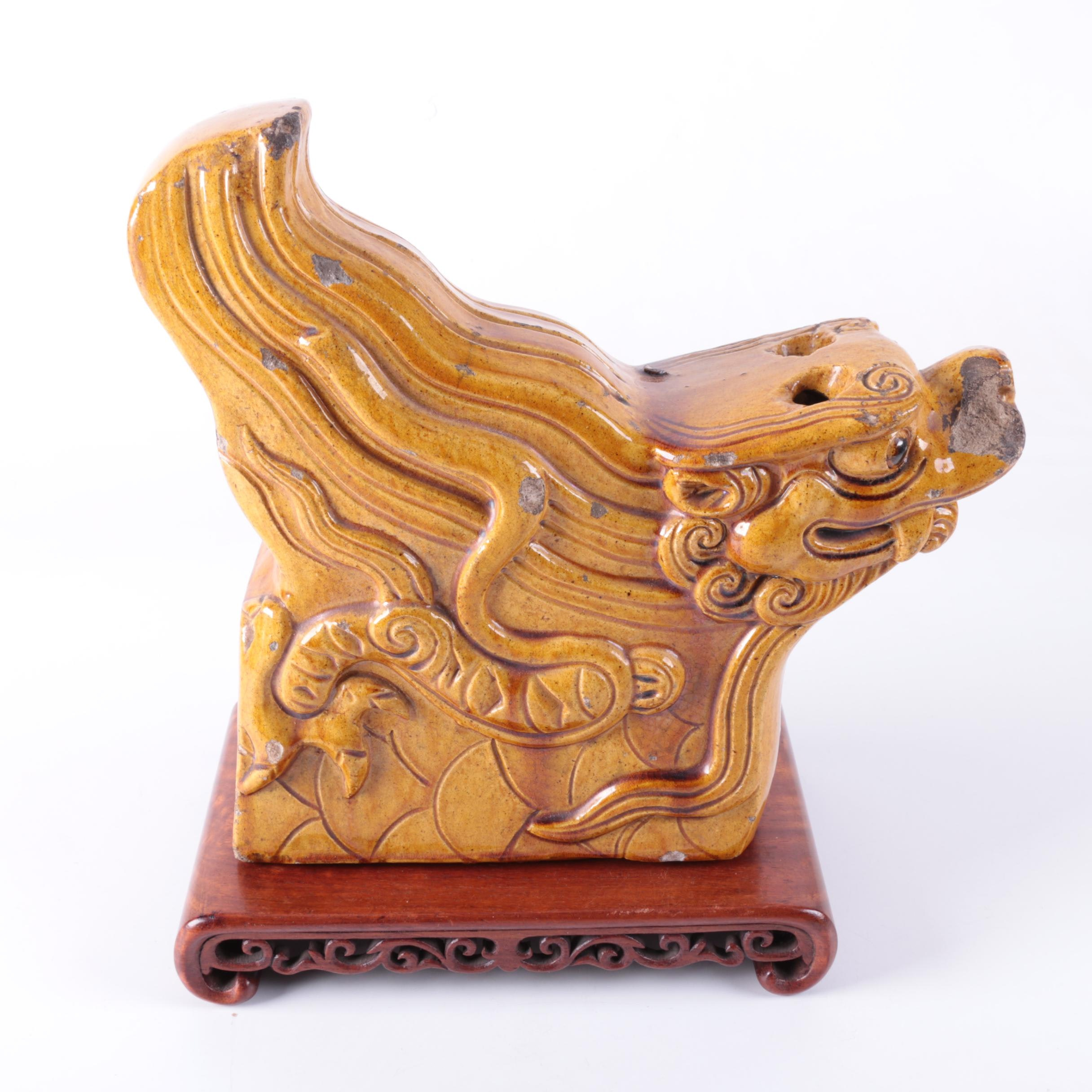 Vintage Chinese Dragon Roof Tile Sculpture