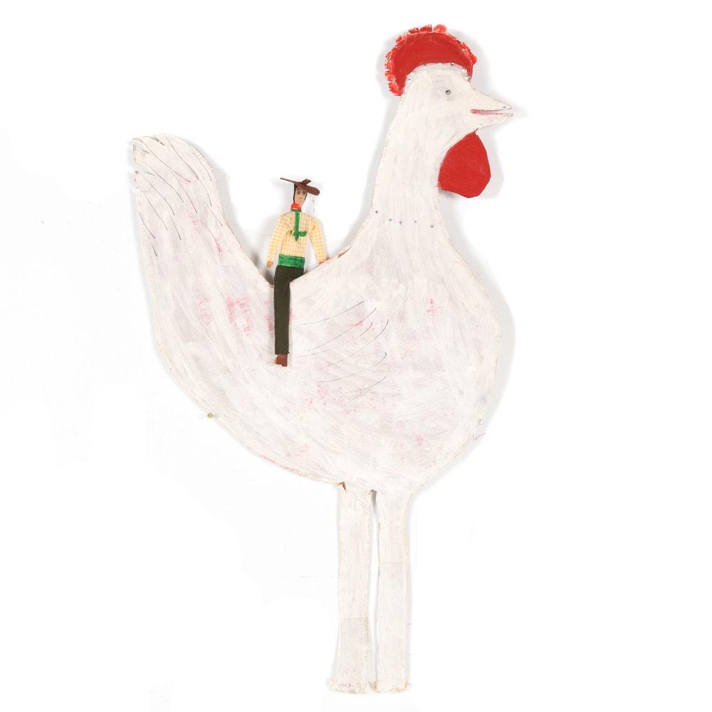 Mamie Deschillie Folk Art Chicken with Rider