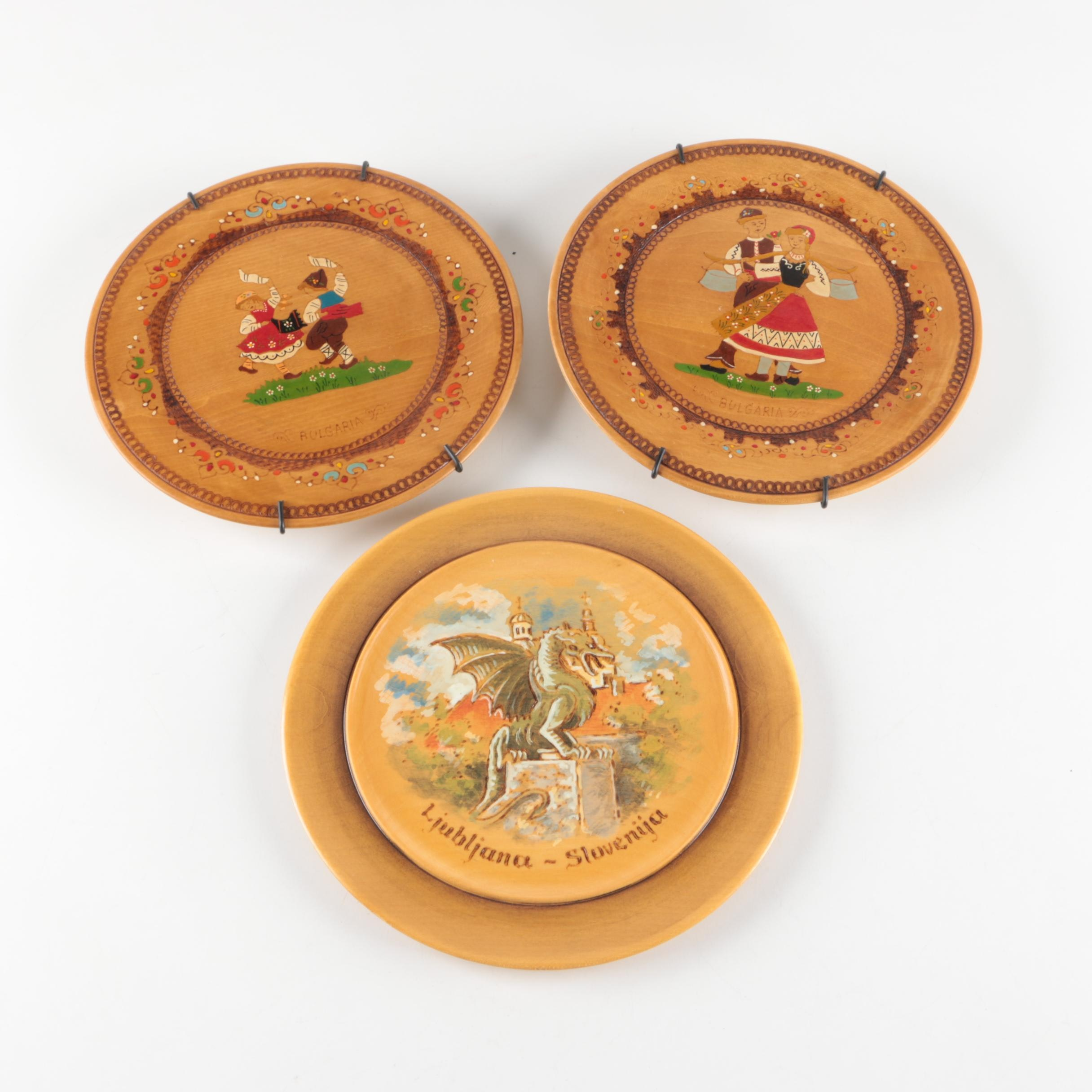Hand-Painted Wooden Decorative Plates from Bulgaria and Slovenia
