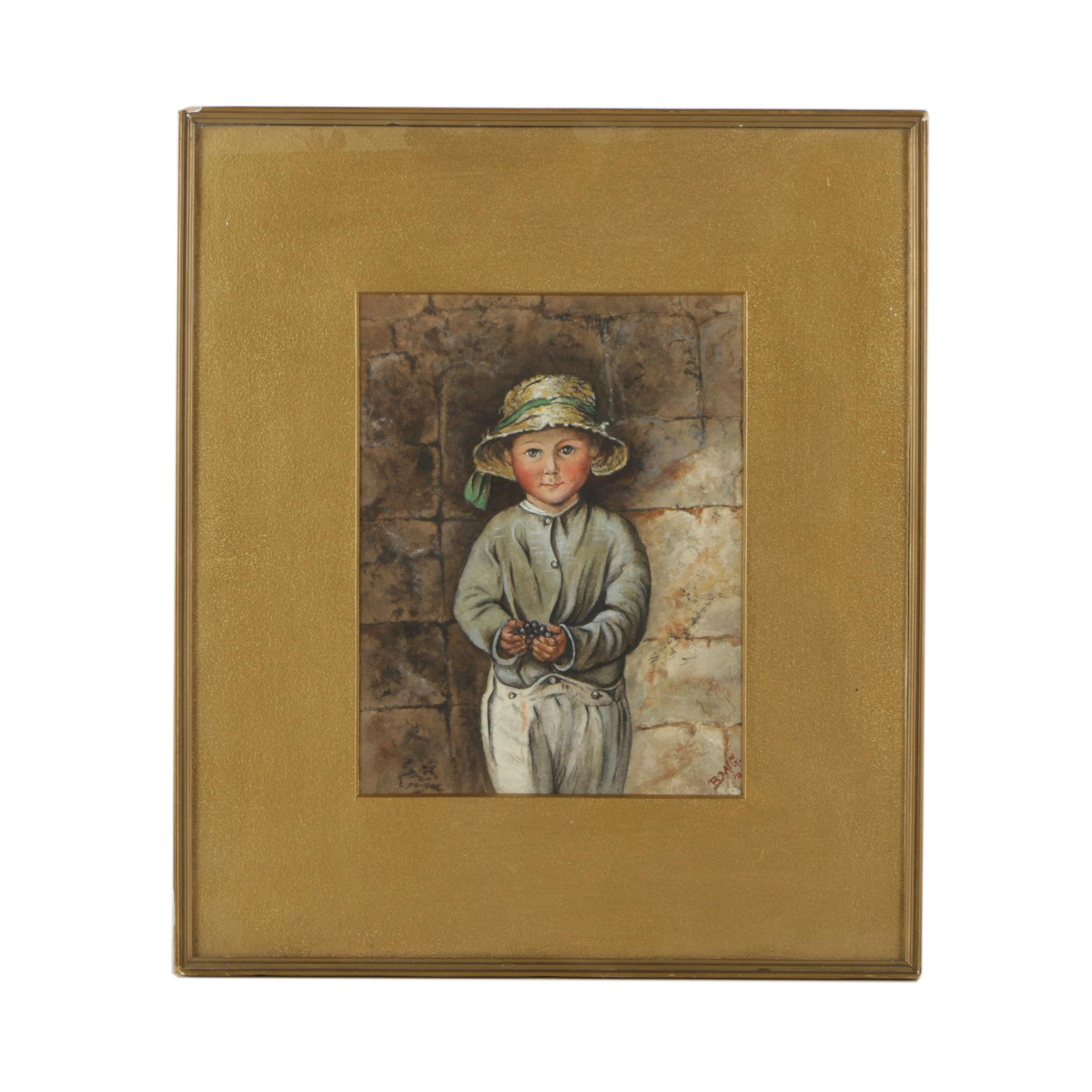 20th Century Watercolor Painting of Child