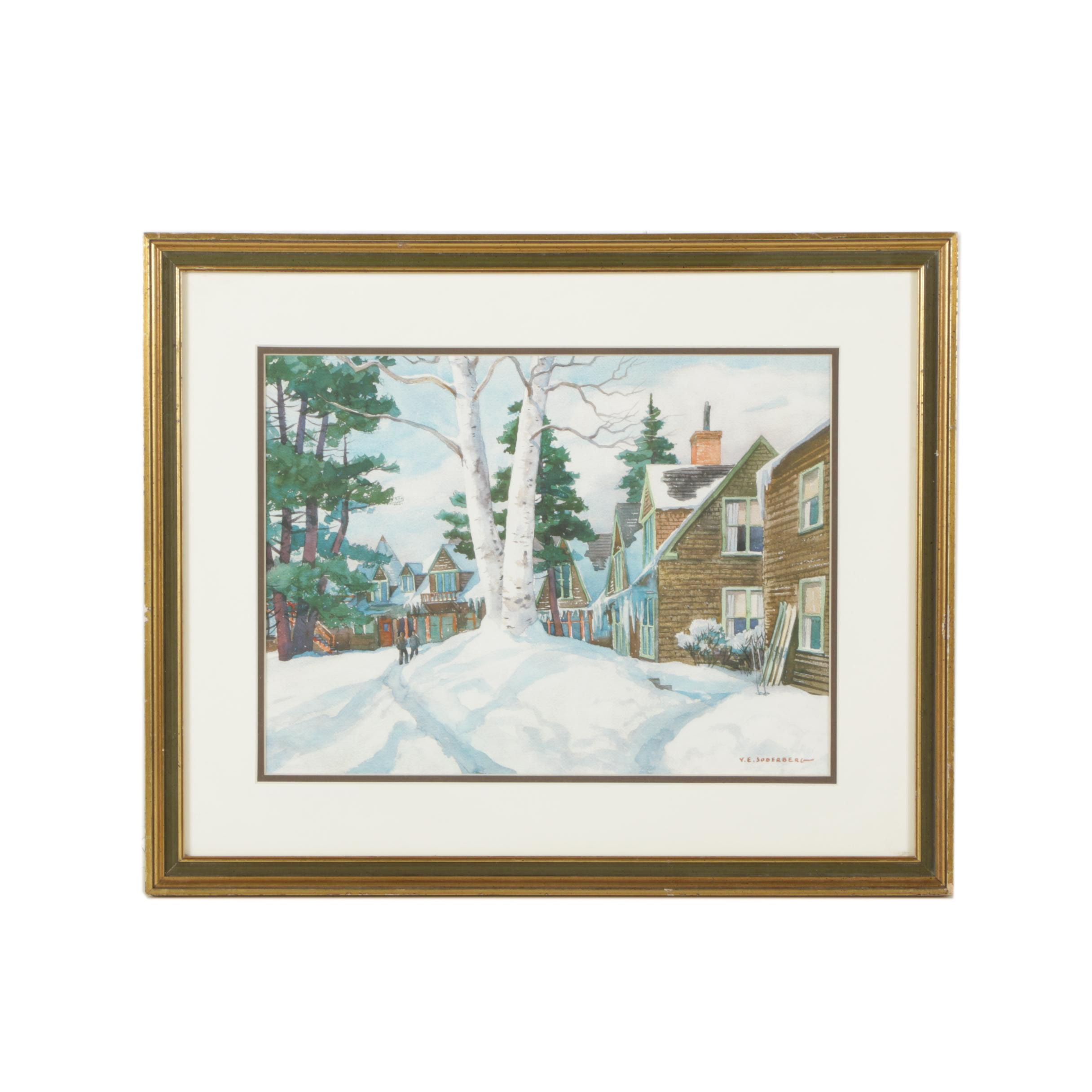 Giclee After Yngve Edward Soderberg Watercolor Painting