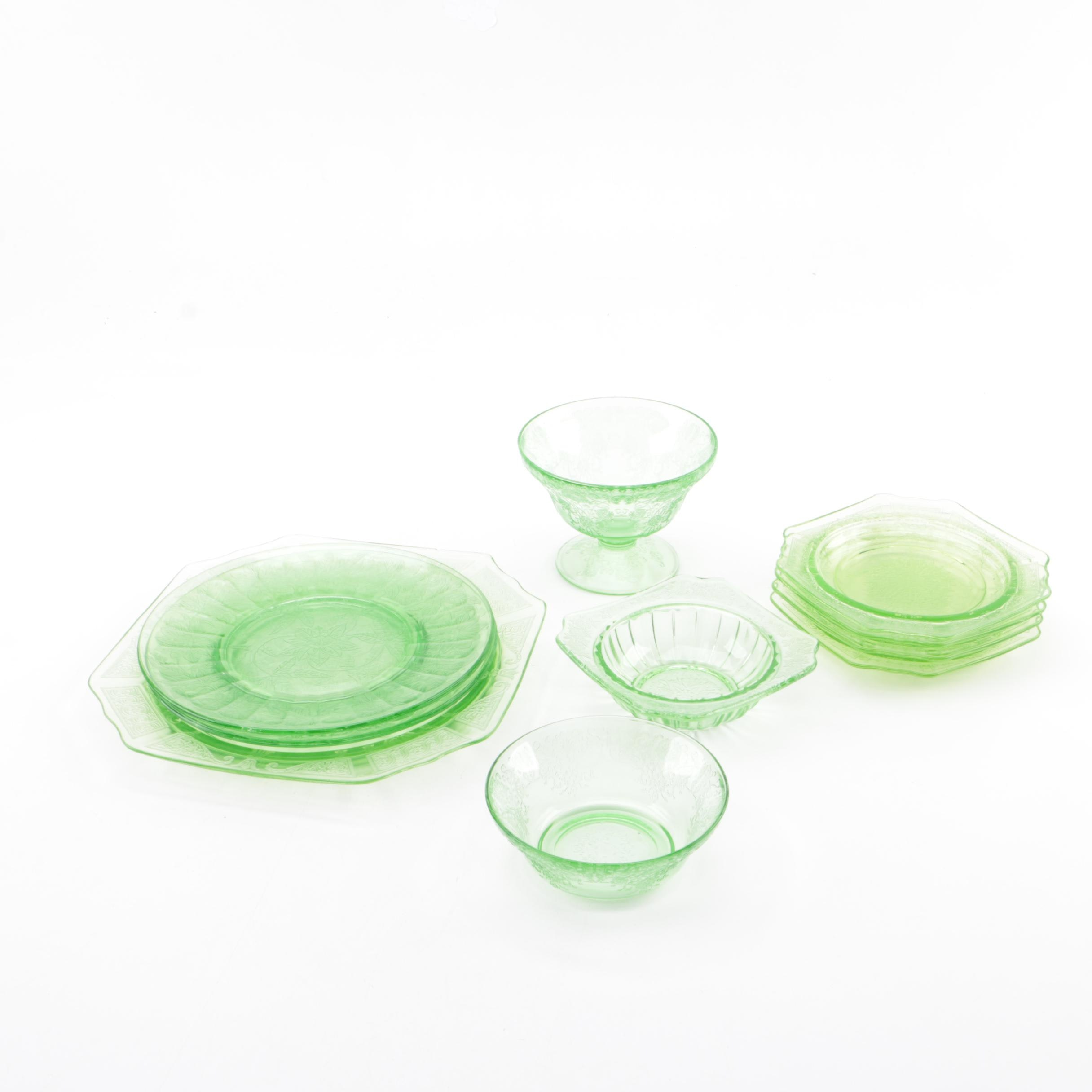 Collection of Green Depression Glass Tableware