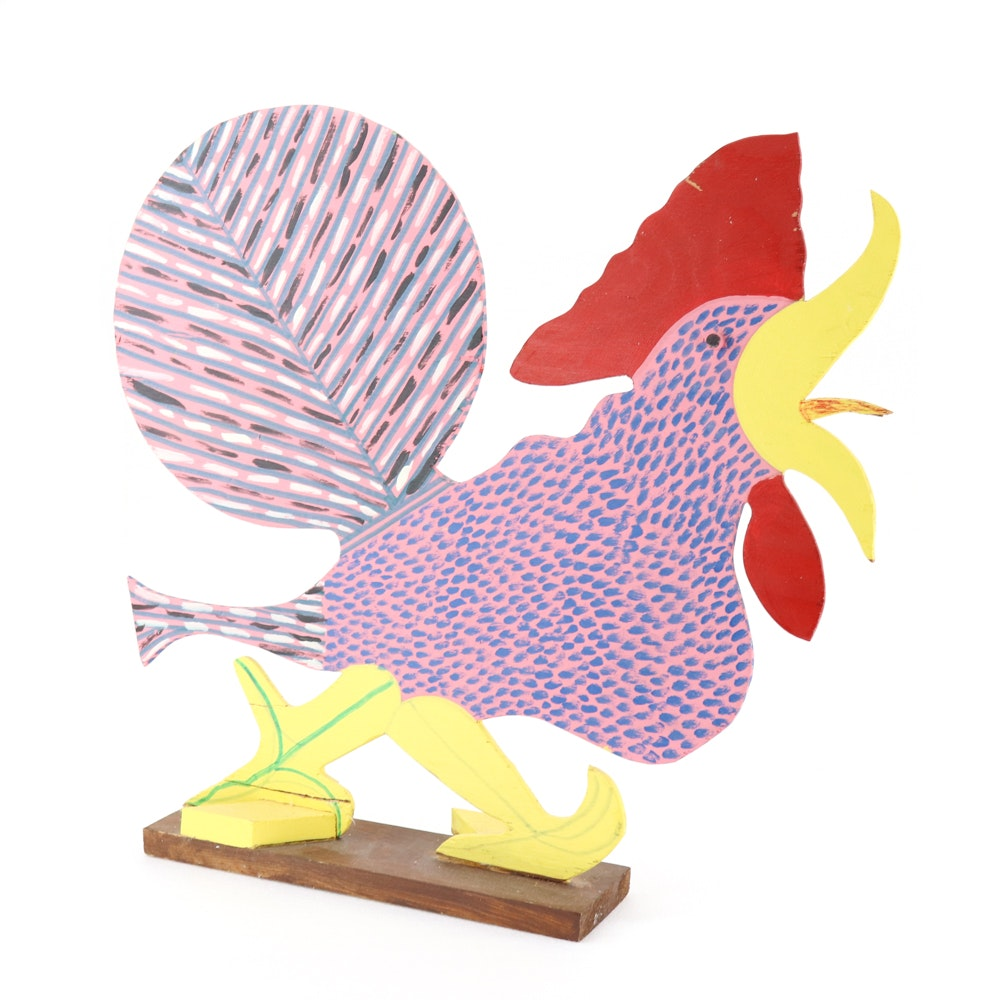 Marvin Finn Folk Art Painted Wooden Rooster Sculpture