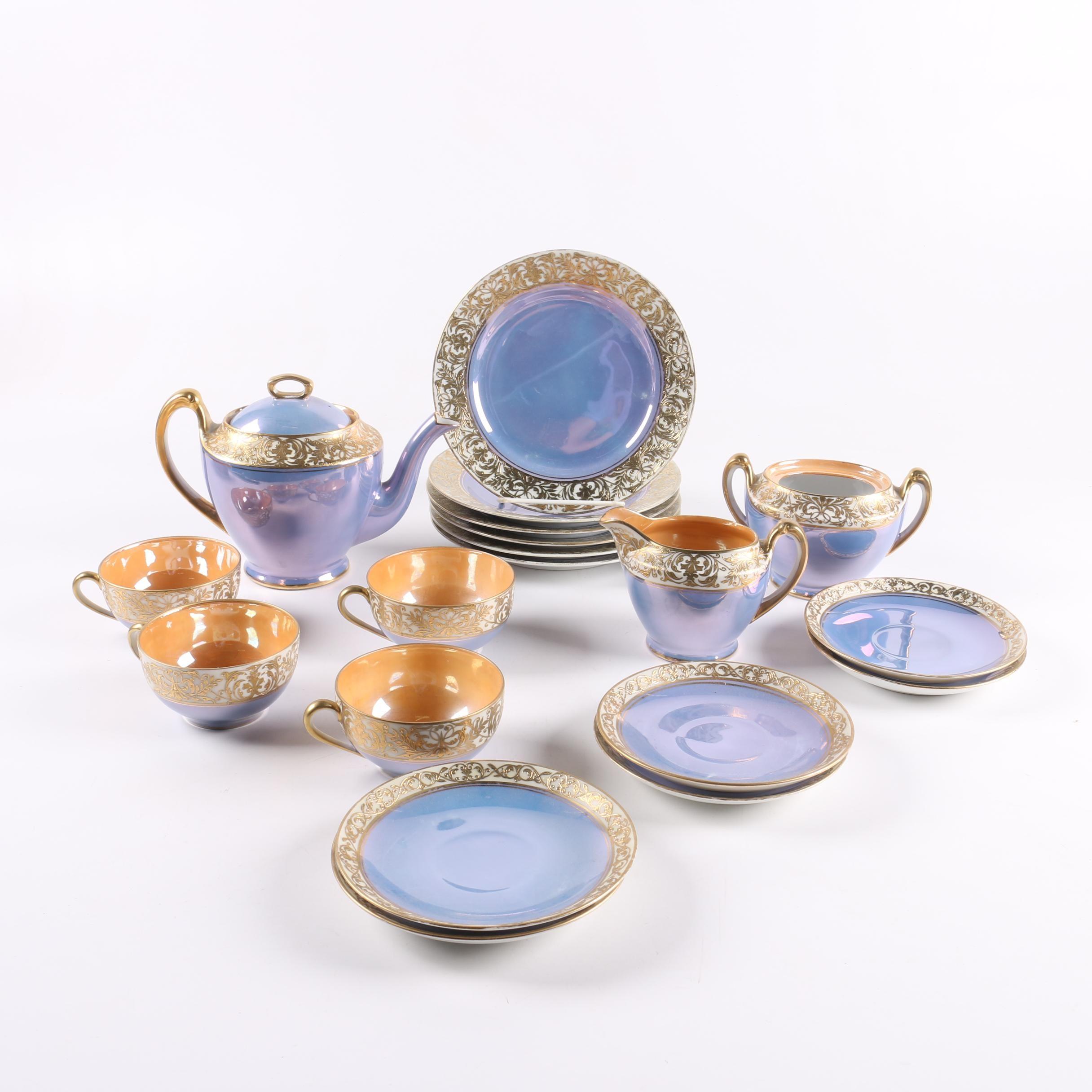 Noritake Blue and Orange Lustreware Tableware