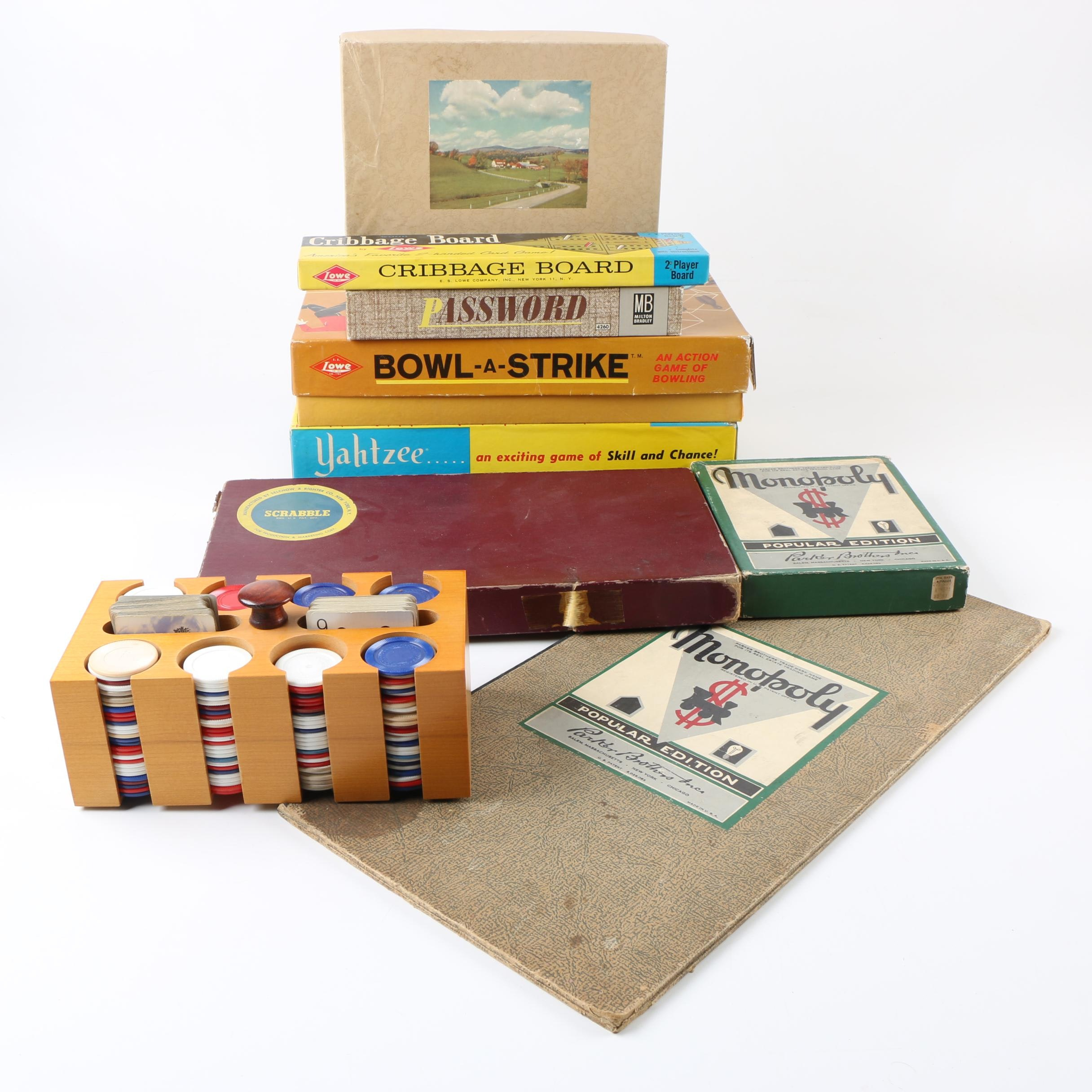 """Poker Set and Vintage Board Games Including """"Yahtzee"""" and """"Password"""""""