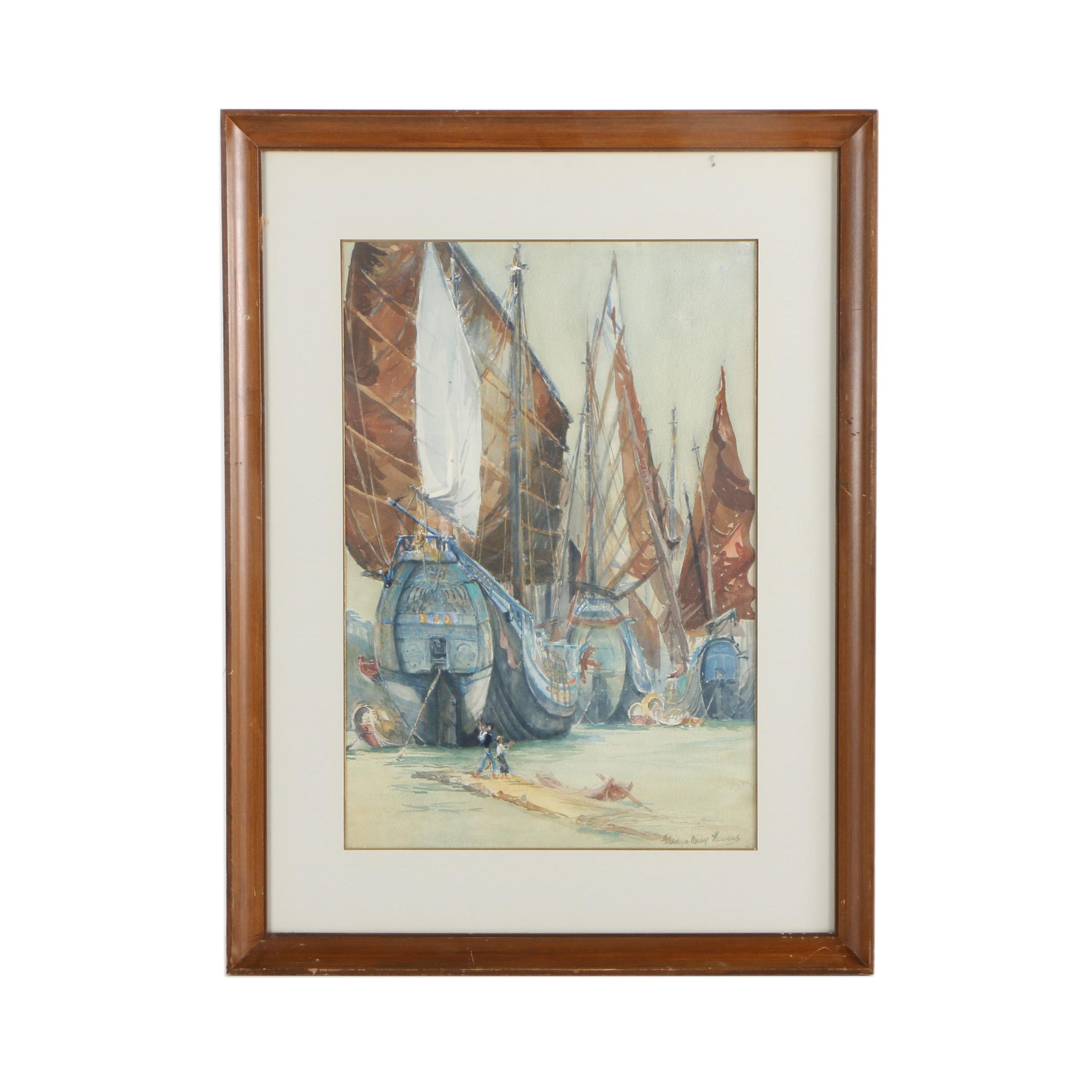Gladys Mary Havers Watercolor Painting of Ships