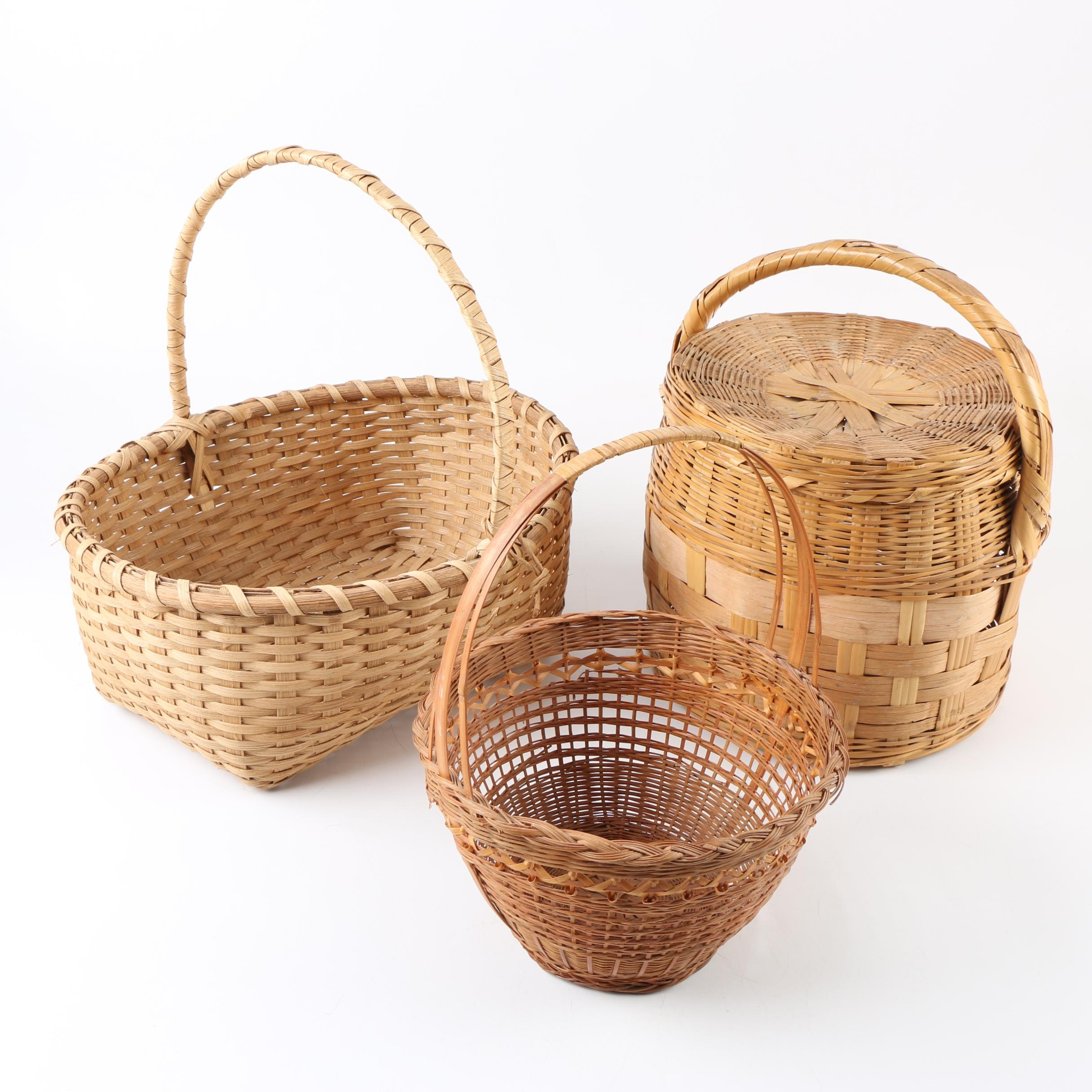 Contemporary Hand Plaited and Twined Reed Gathering Baskets