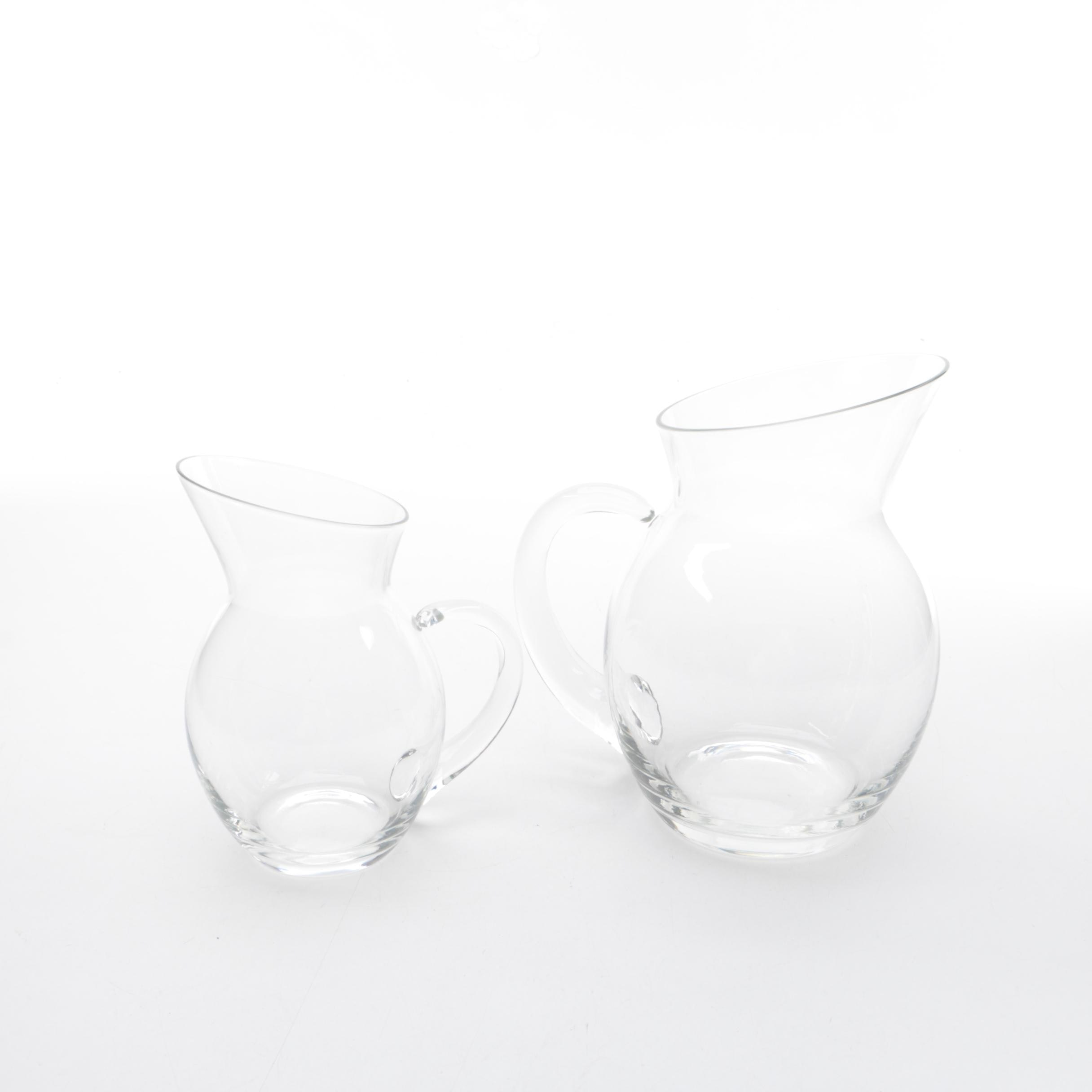 Pair of Contemporary Glass Pitchers