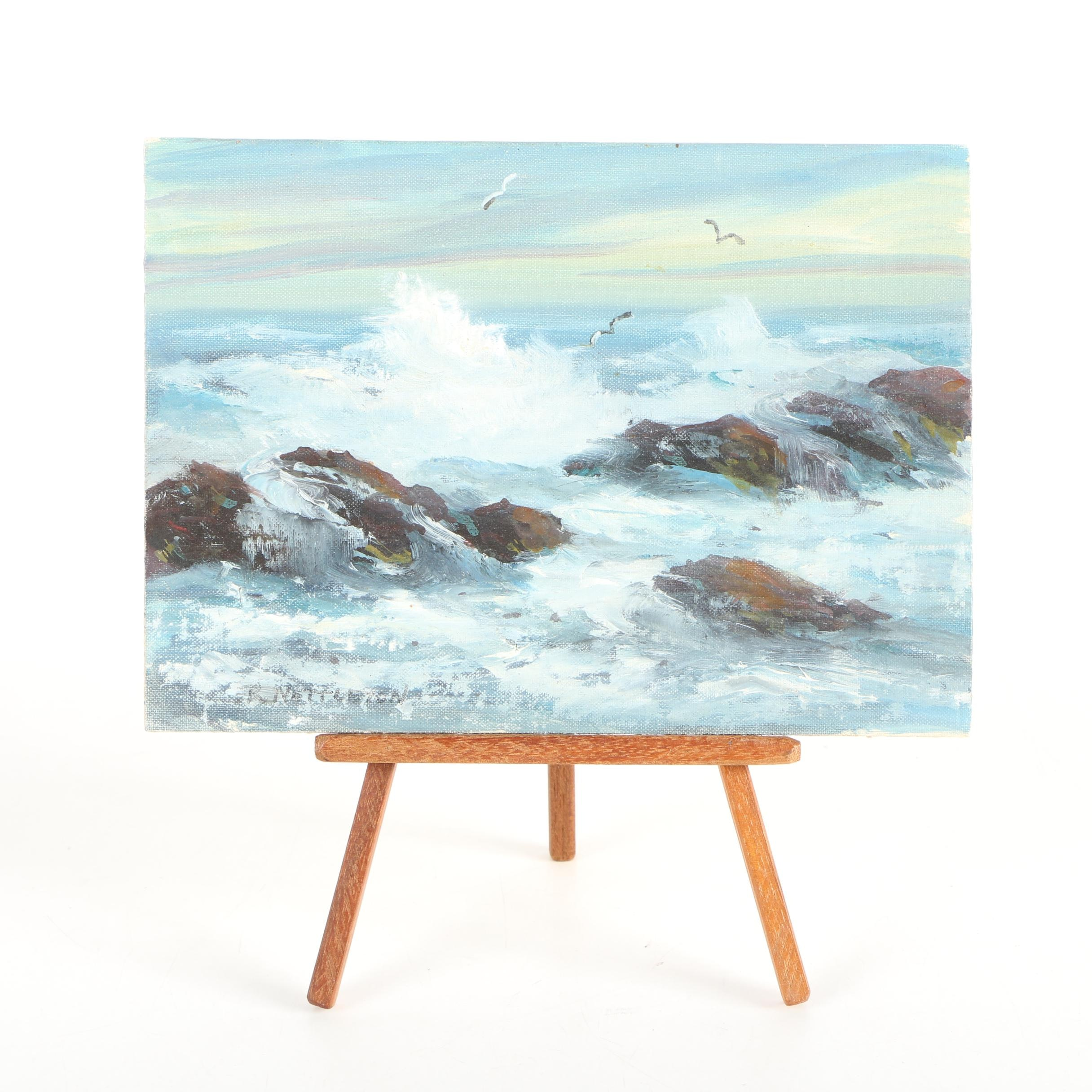 "Ruth Nettleton Signed Miniature Oil on Board Painting ""Surf"" with Easel"
