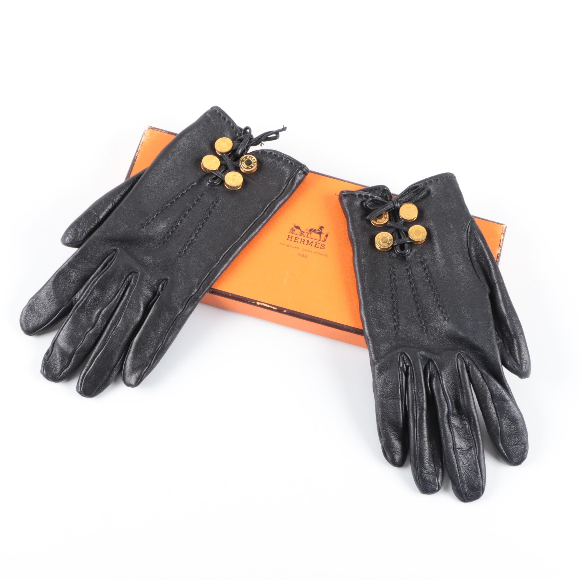 Hermès Paris Black Calf Leather Gloves