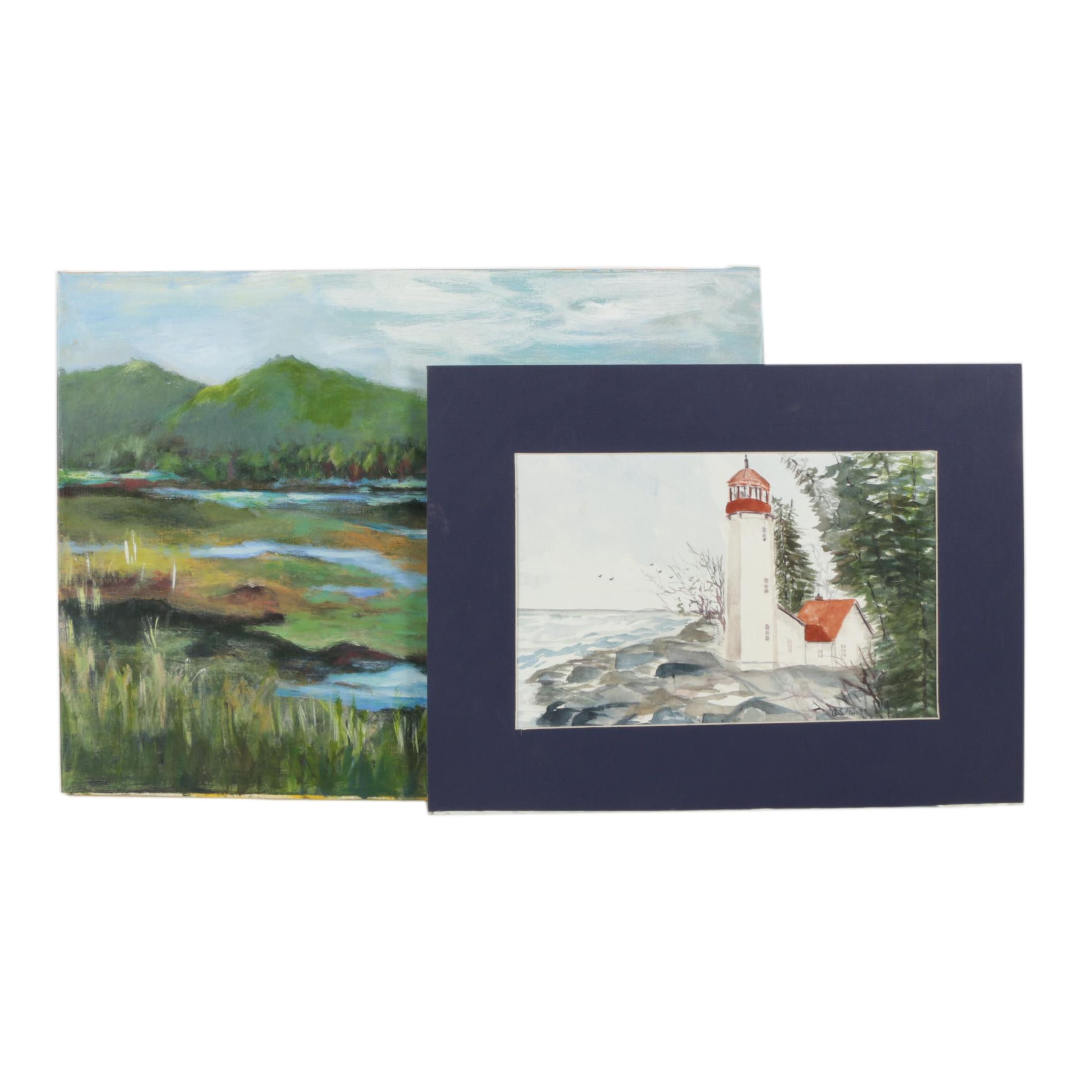 Late 20th-century Oil Painting and G. Sutton Watercolor Painting