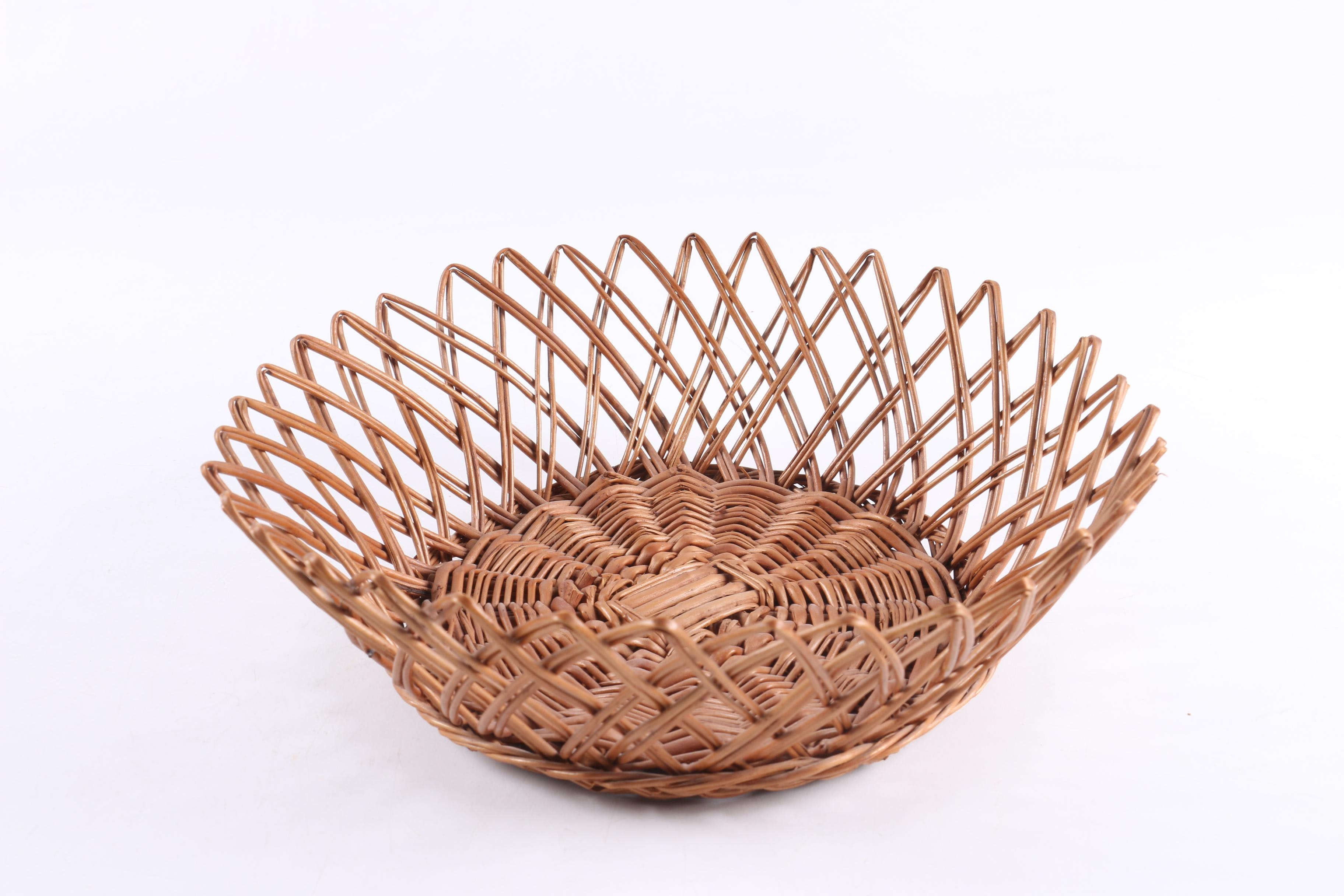Contemporary Hand Woven Reed Bread Basket With Cane Embellishments