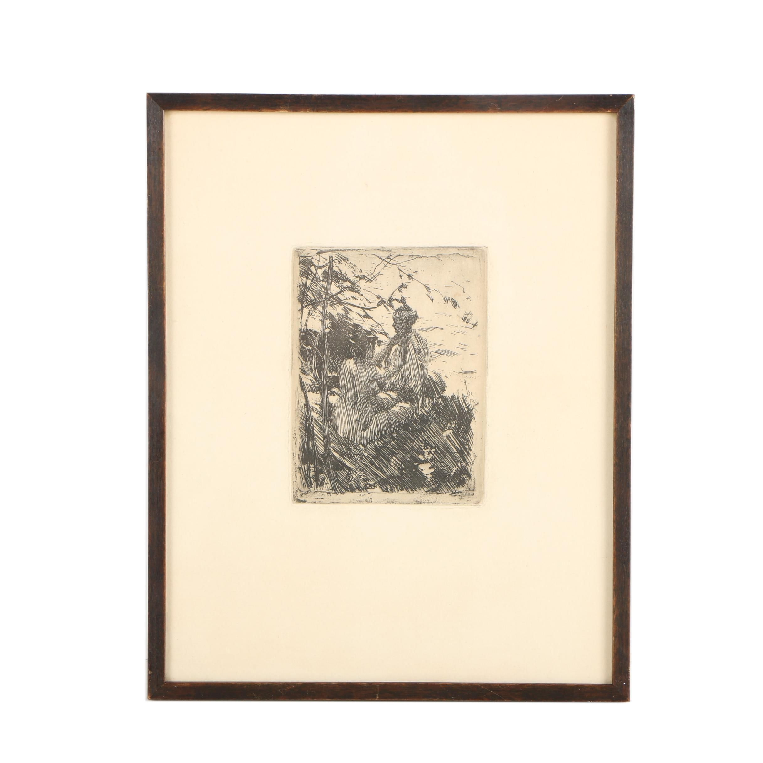 "Mid Century Etching After Anders Zorn ""In the Open Air"""