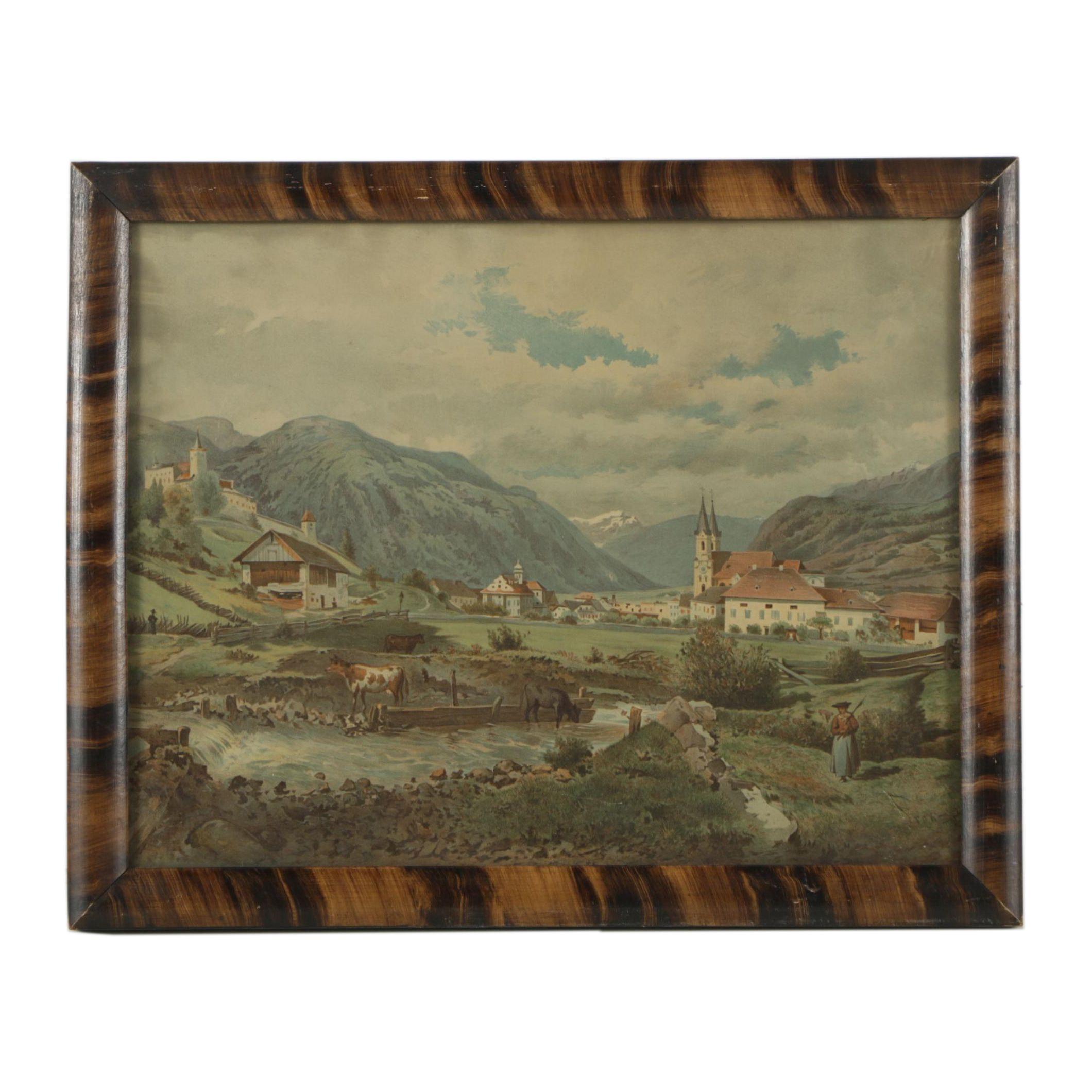 Chromolithograph of Bruneck After Franz Alt