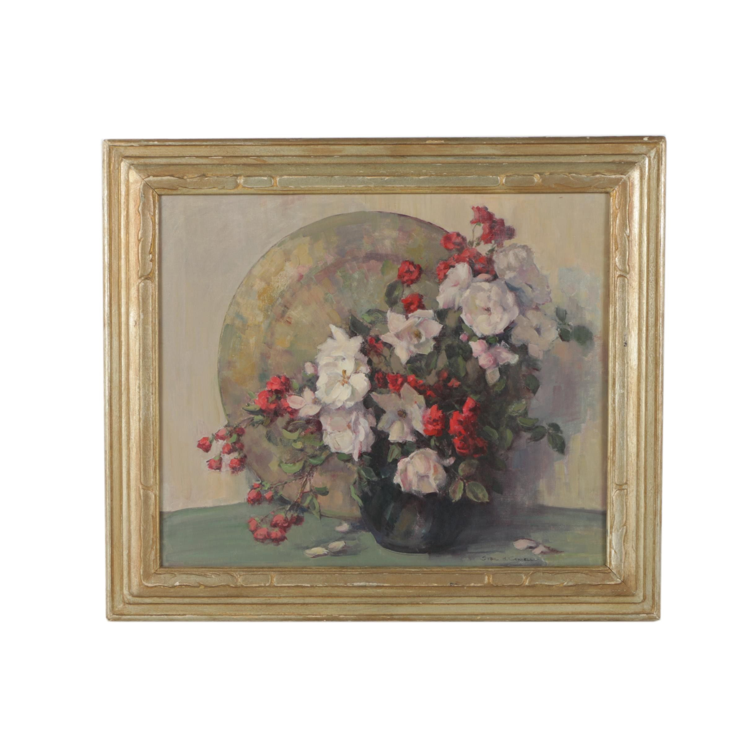 "Sybil H. Connell Oil Painting ""Old Fashioned Roses"""