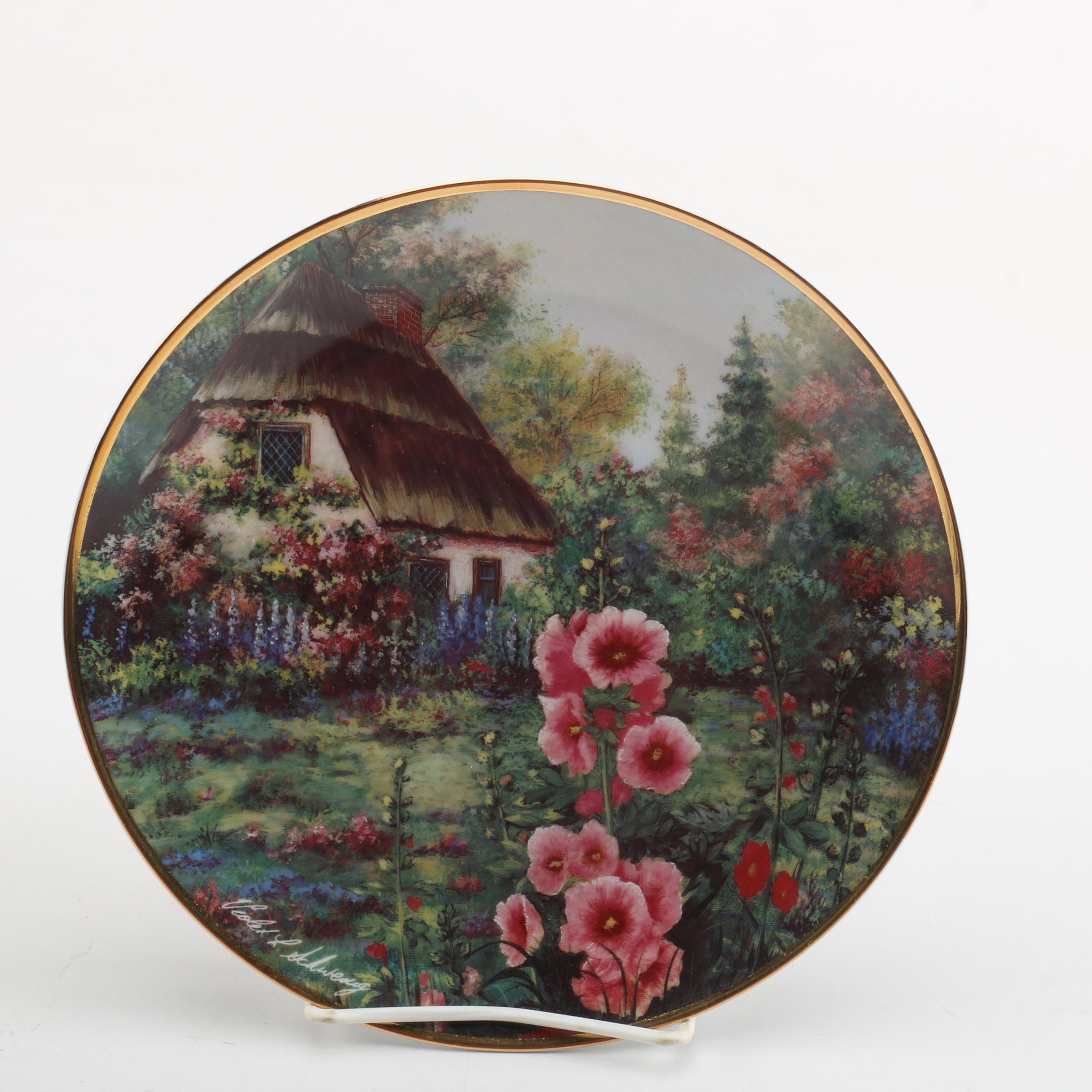 """Franklin Mint """"Hollyhock Cottage"""" Collector Plate after Violet Schwenig"""