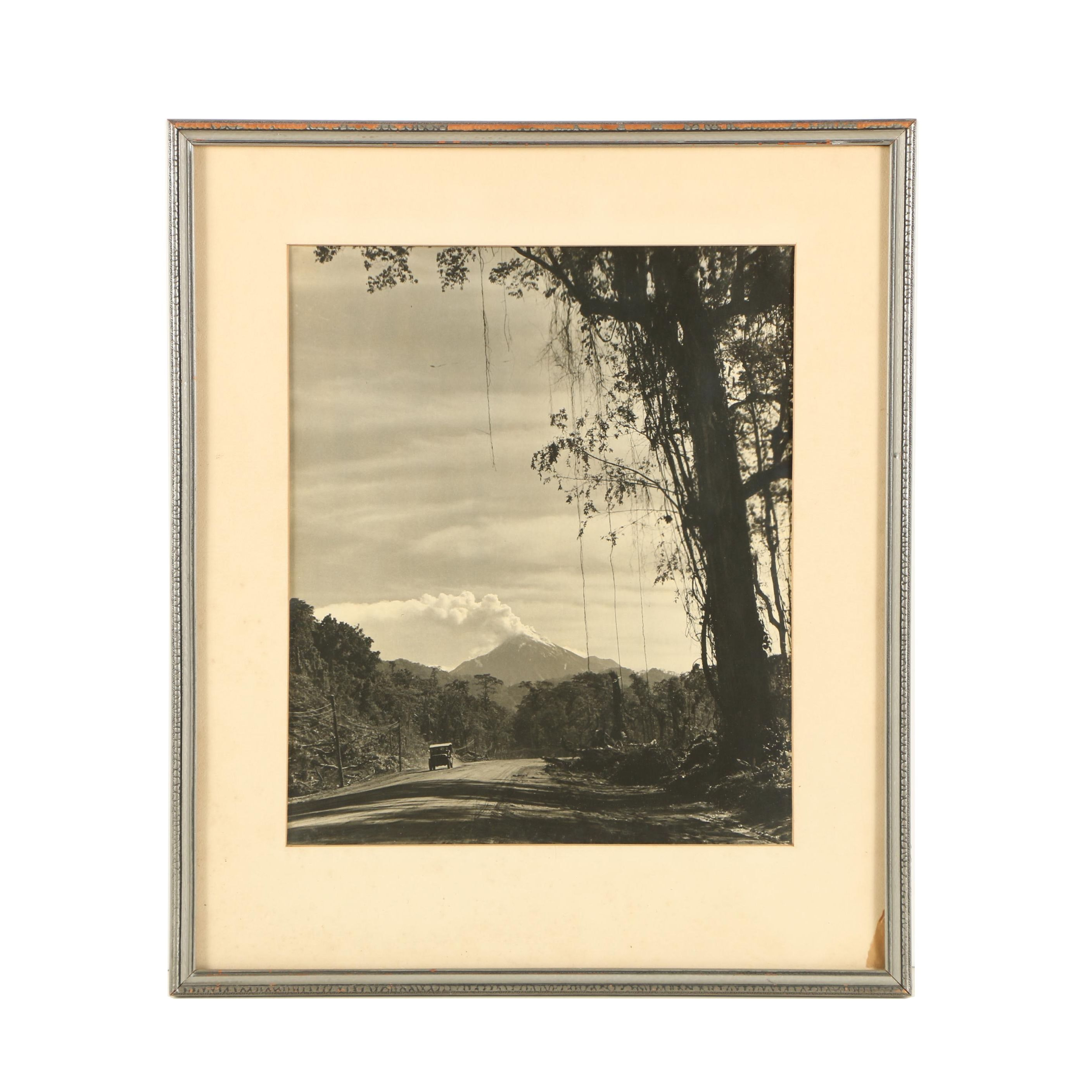 Black and White Photograph of a Dirt Road
