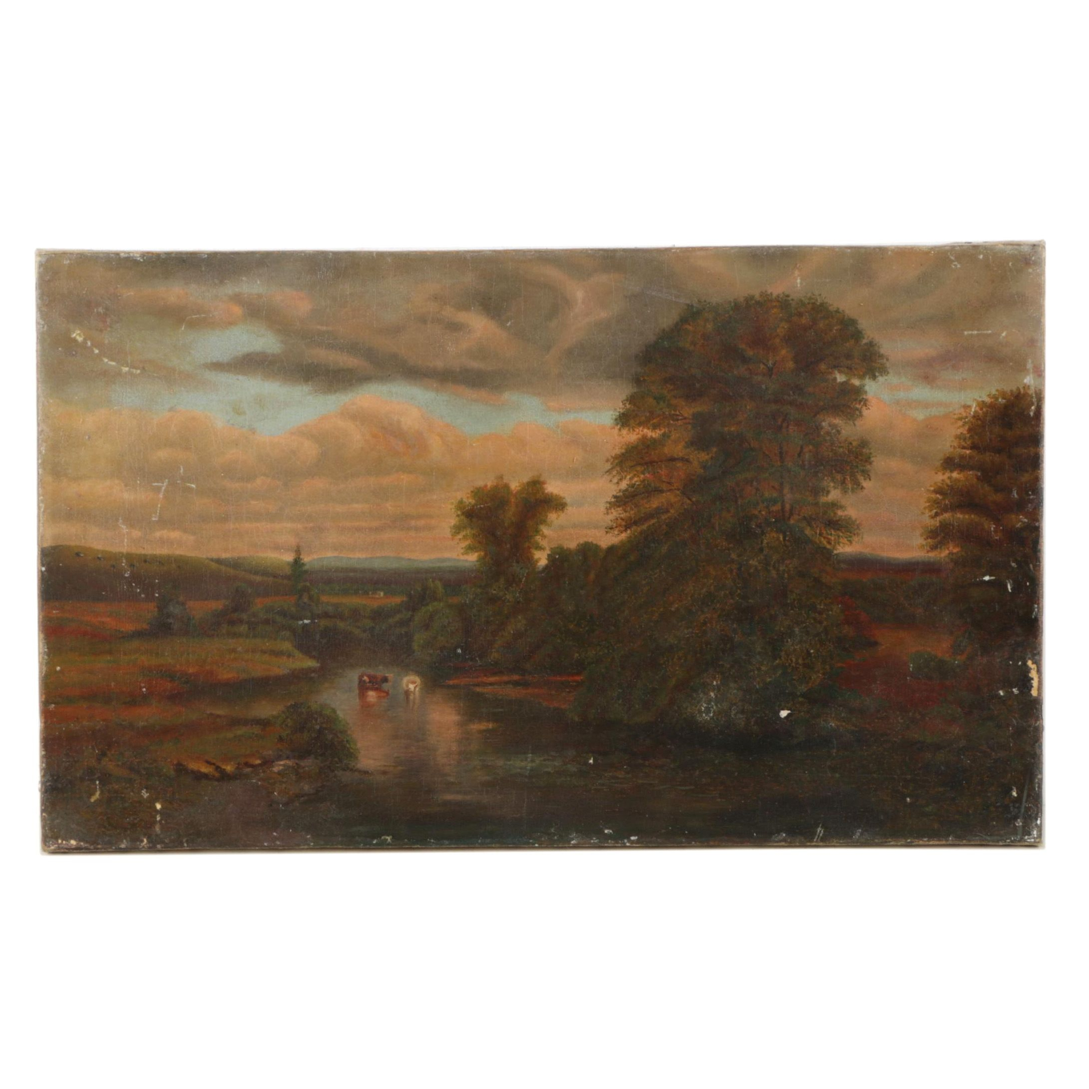 Late 19th Century European Oil Painting Landscape with Cows