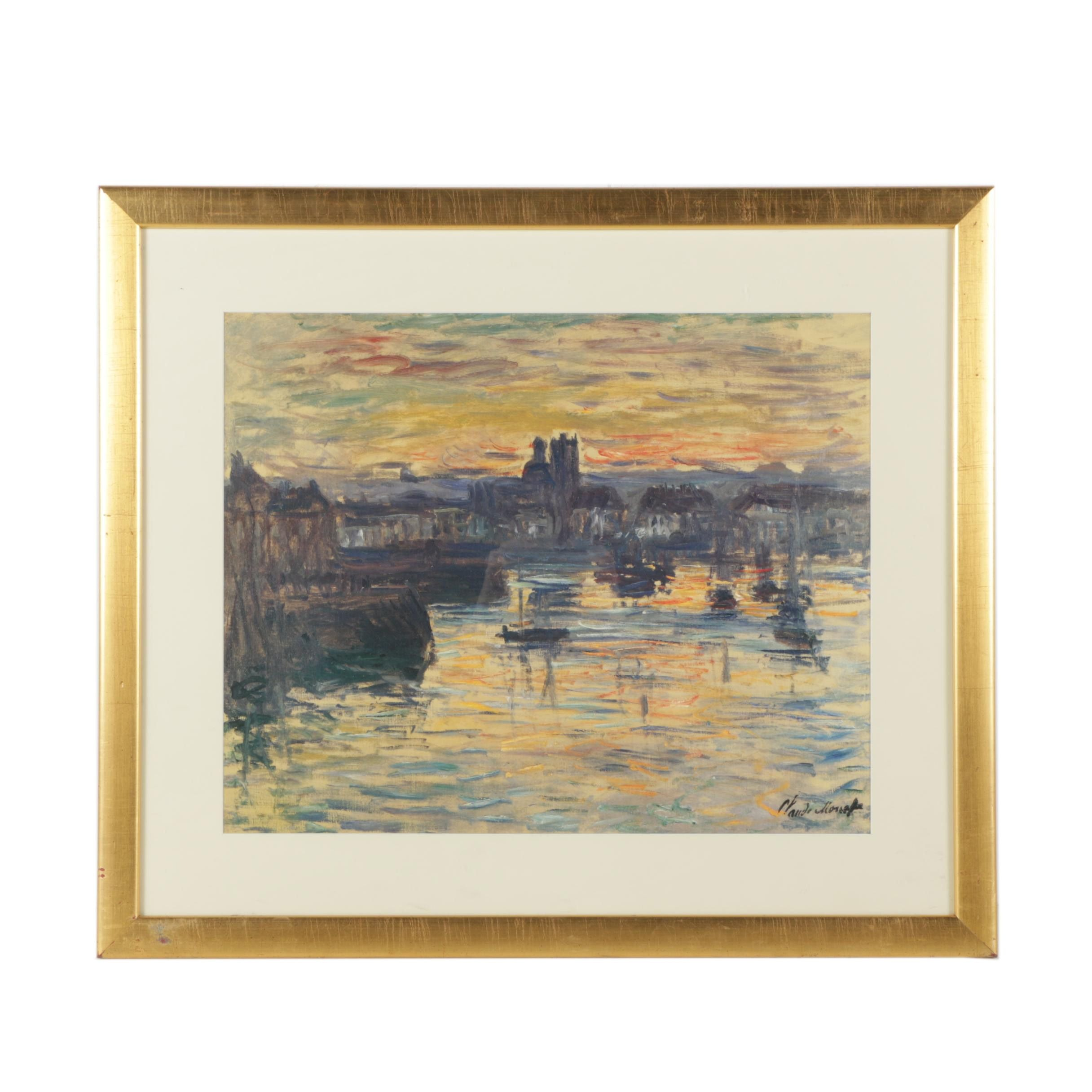 "Offset Lithograph After Claude Monet's ""Port of Dieppe, Evening"""