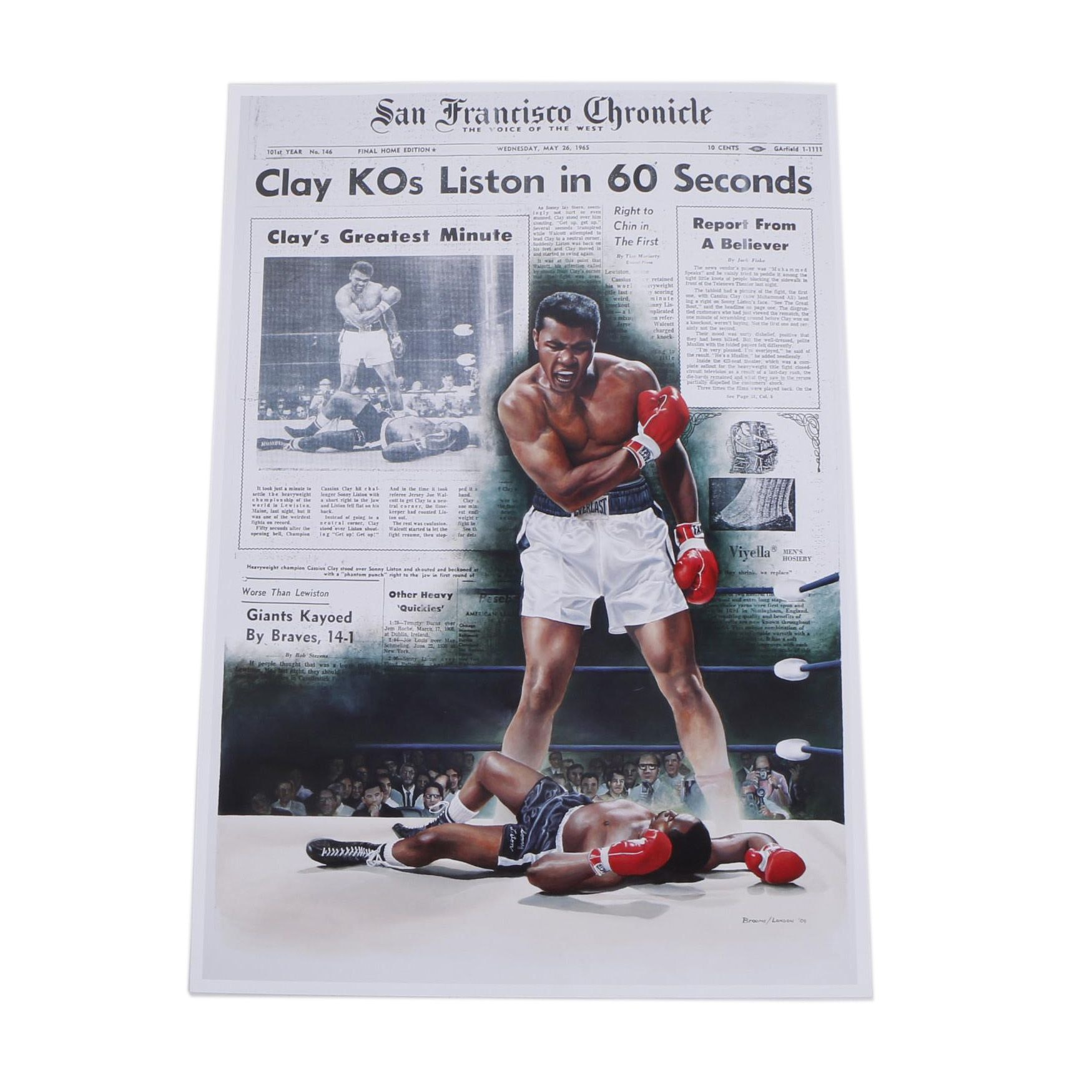"Offset Lithograph After Doug London ""Clay KOs Liston"""
