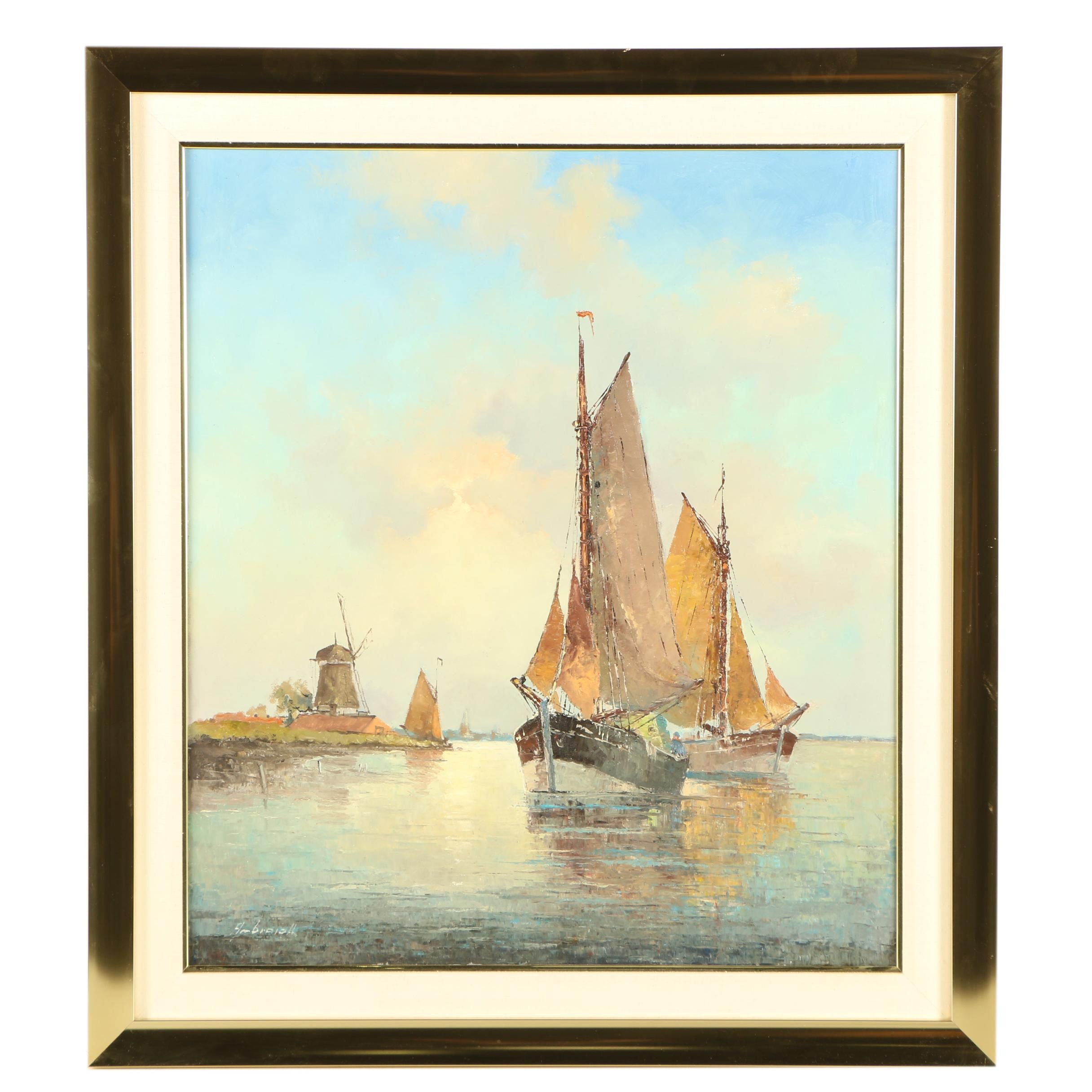 Franz Ambrasath Oil Painting of Fishing Boats