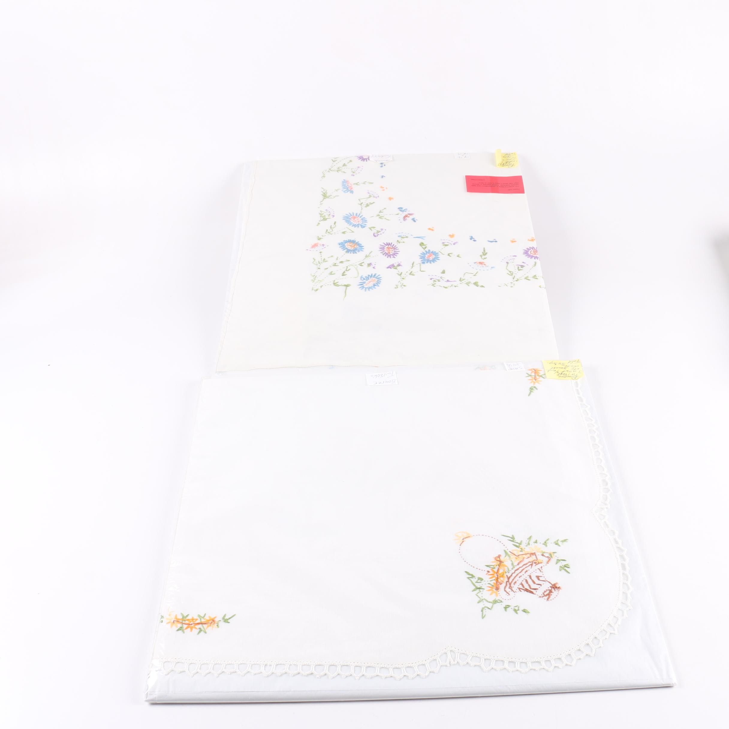 Hand Made Embroidered White Tablecloths