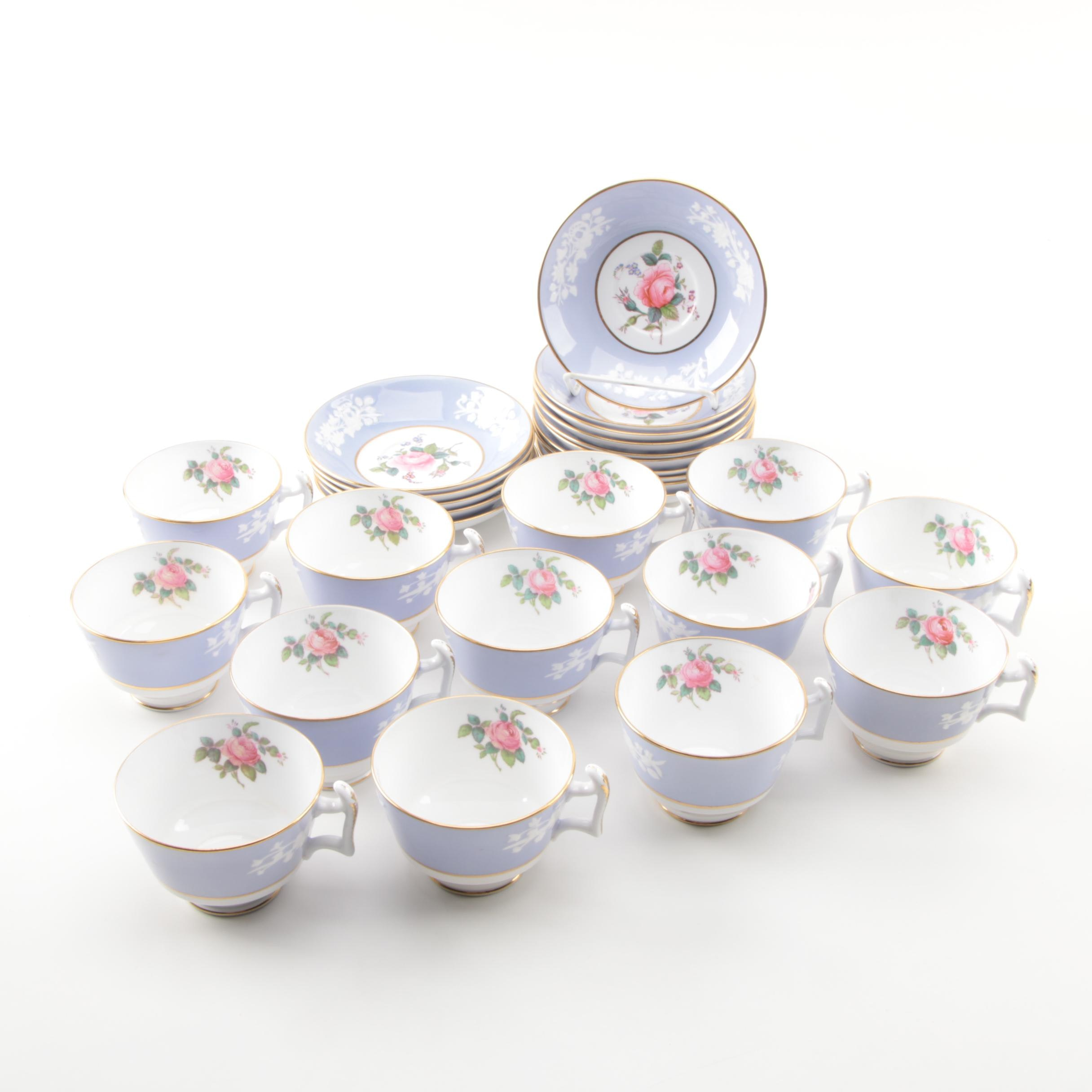 "Vintage Copeland Spode ""Maritime Rose"" Porcelain Teacups and Saucers"