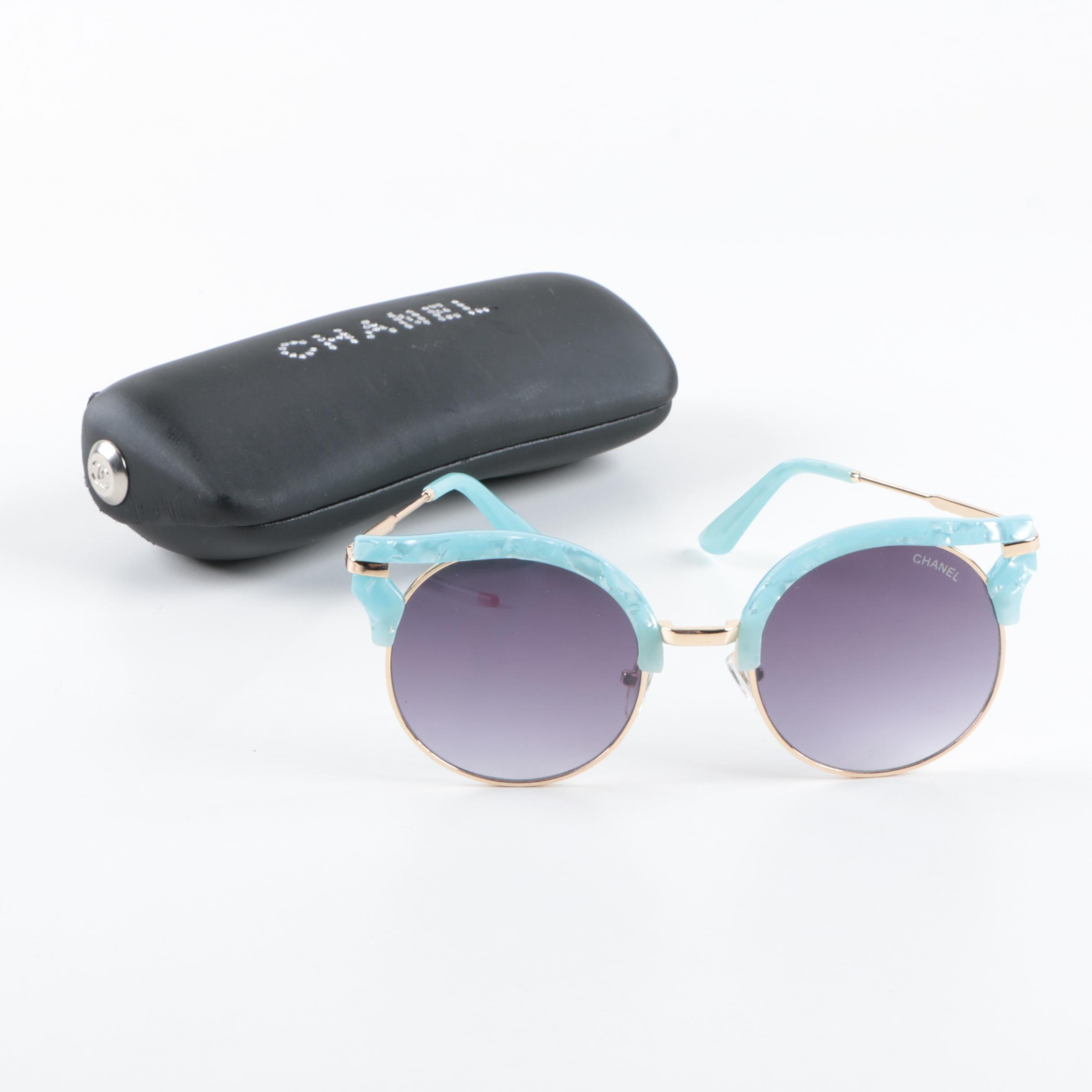 Chanel Round Cat Eye Sunglasses with Case